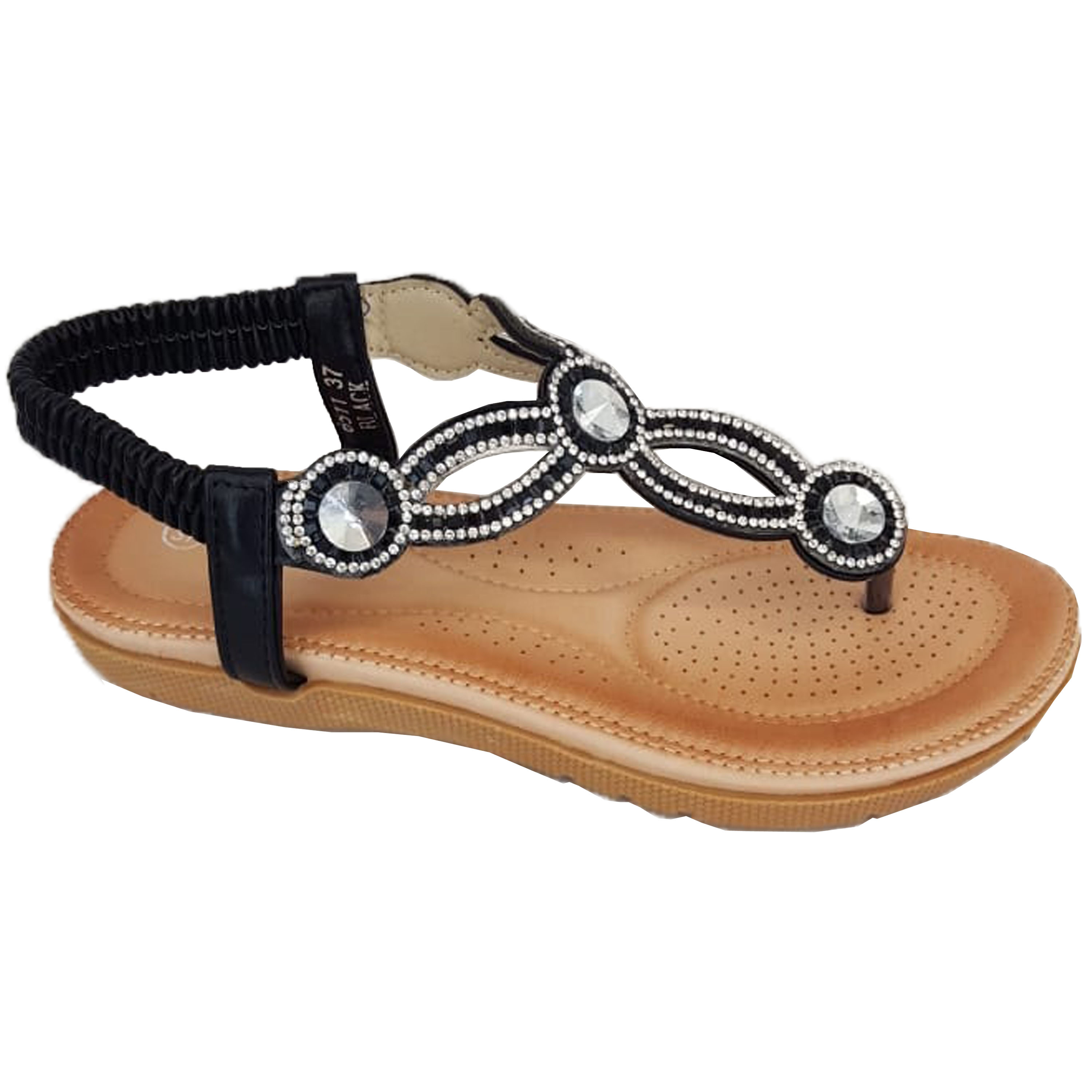 Ladies-Sandals-Womens-Diamante-Sling-Back-Open-Toe-Post-Shoes-Fashion-Summer-New thumbnail 2