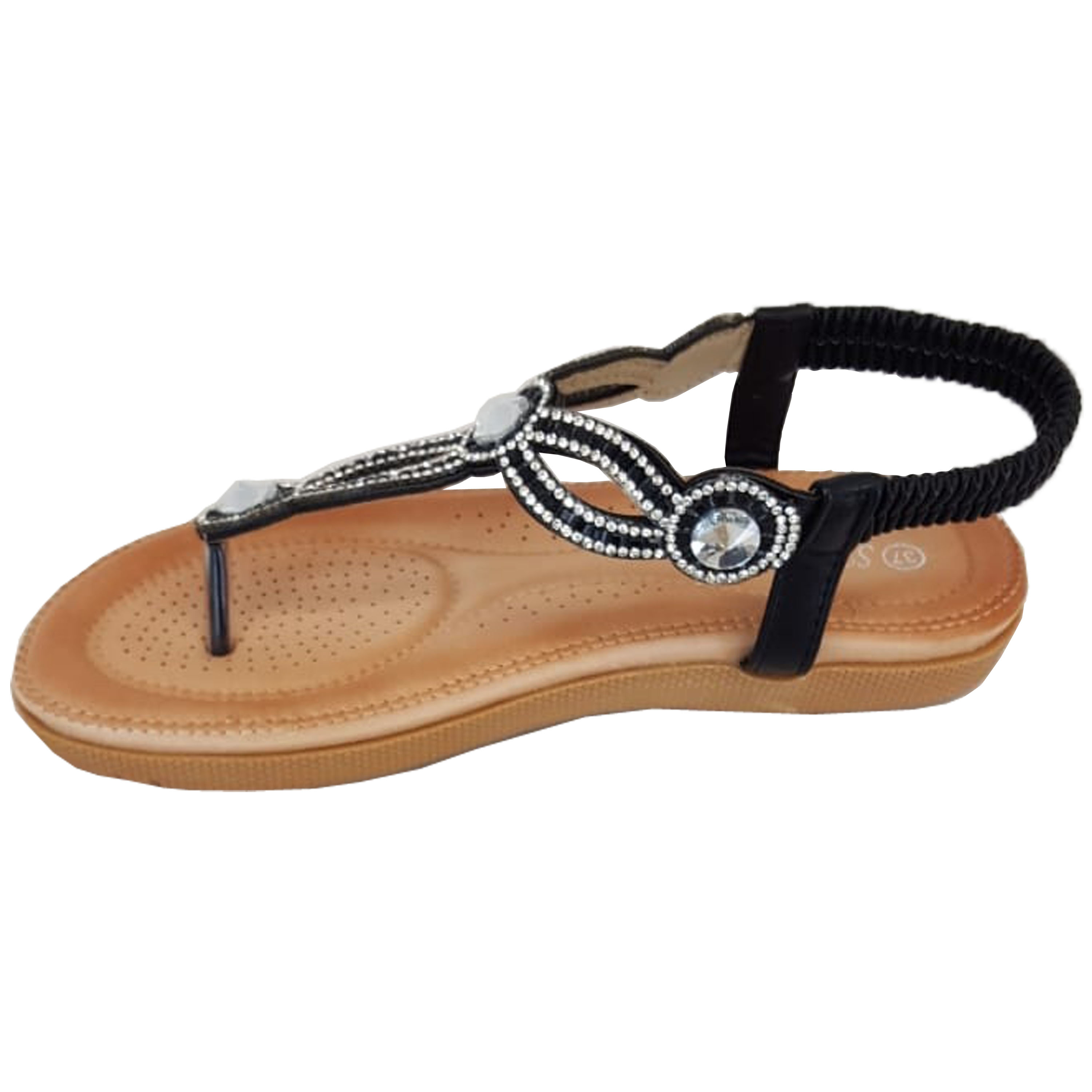 Ladies-Sandals-Womens-Diamante-Sling-Back-Open-Toe-Post-Shoes-Fashion-Summer-New thumbnail 3