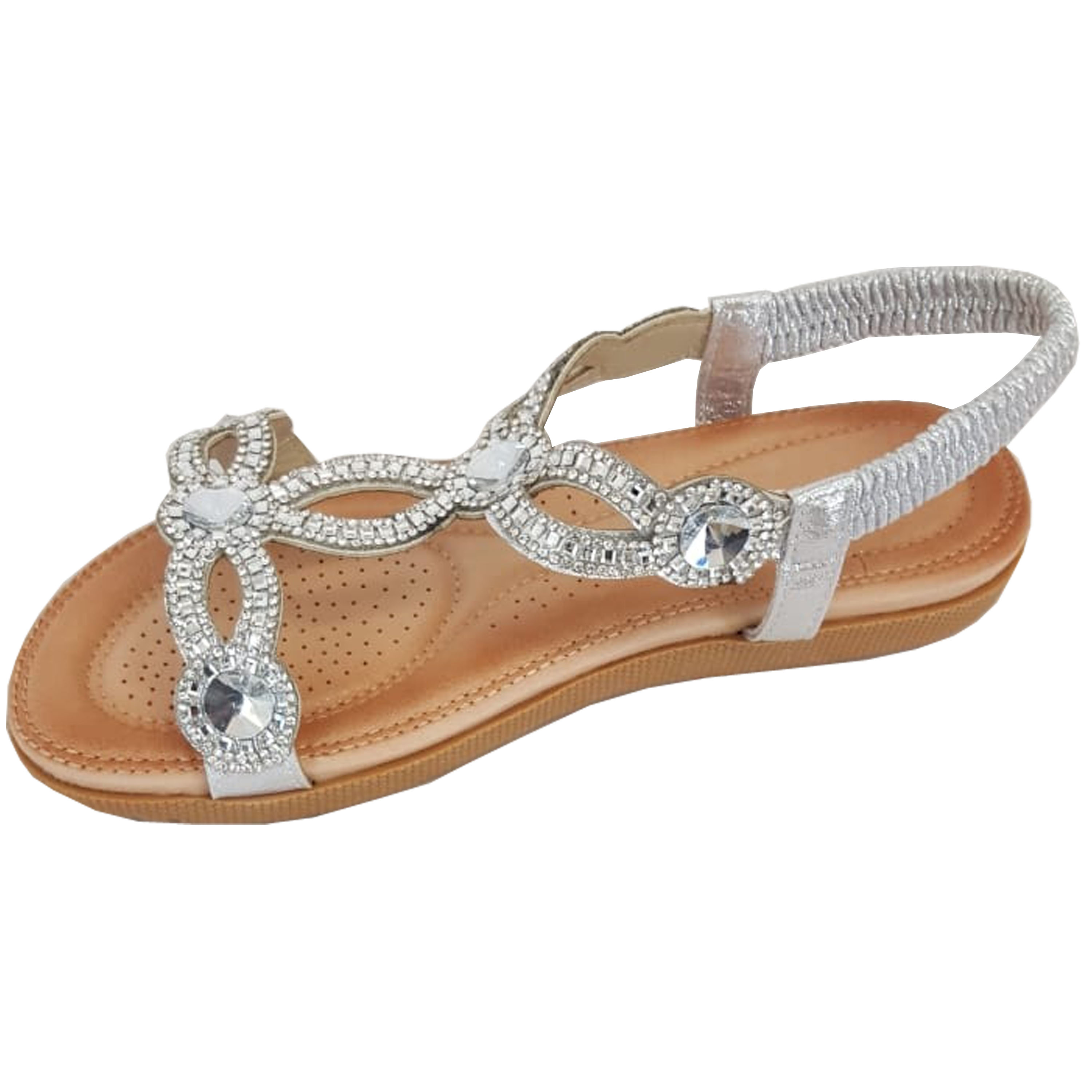 Ladies-Sandals-Womens-Diamante-Sling-Back-Open-Toe-Post-Shoes-Fashion-Summer-New thumbnail 17