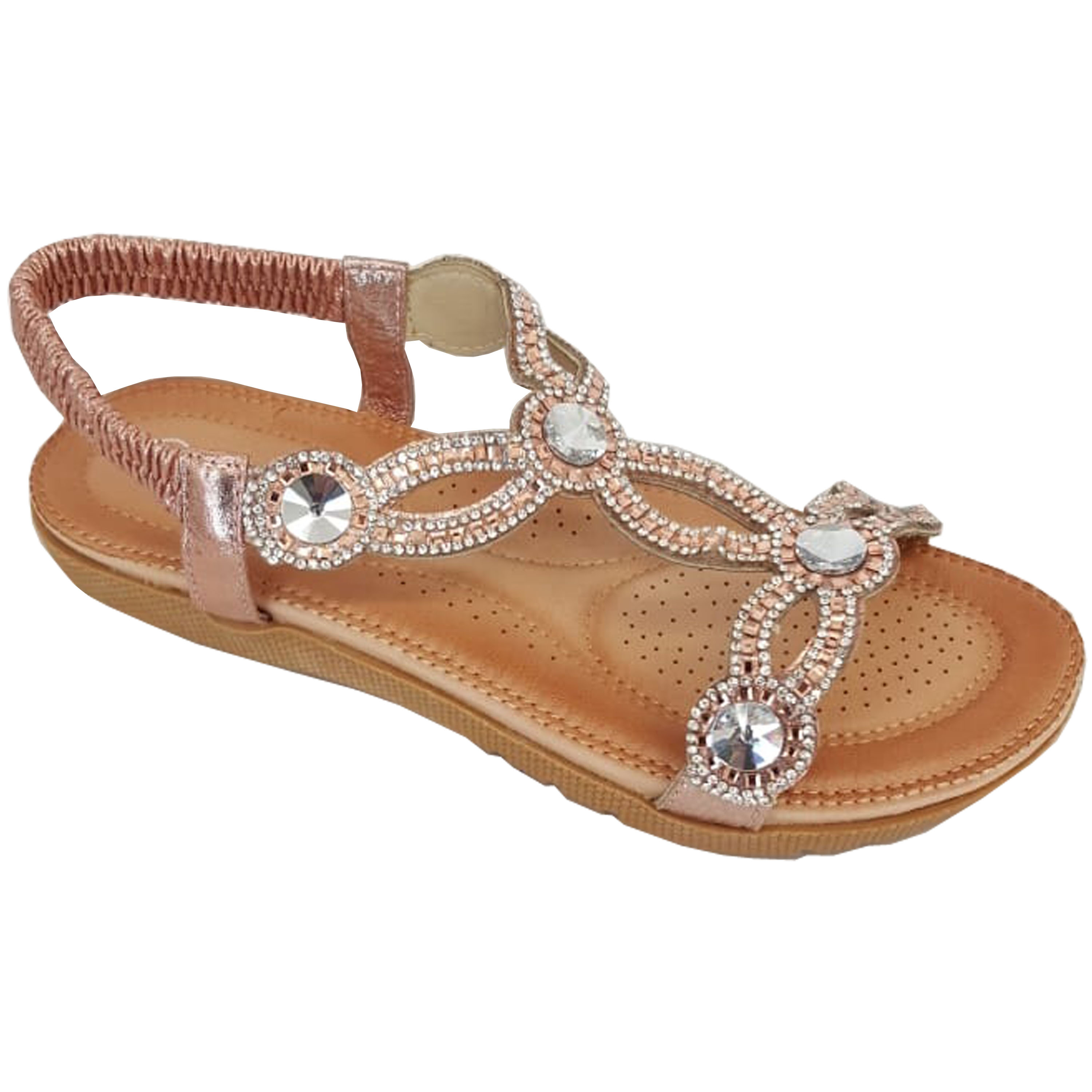 Ladies-Sandals-Womens-Diamante-Sling-Back-Open-Toe-Post-Shoes-Fashion-Summer-New thumbnail 9