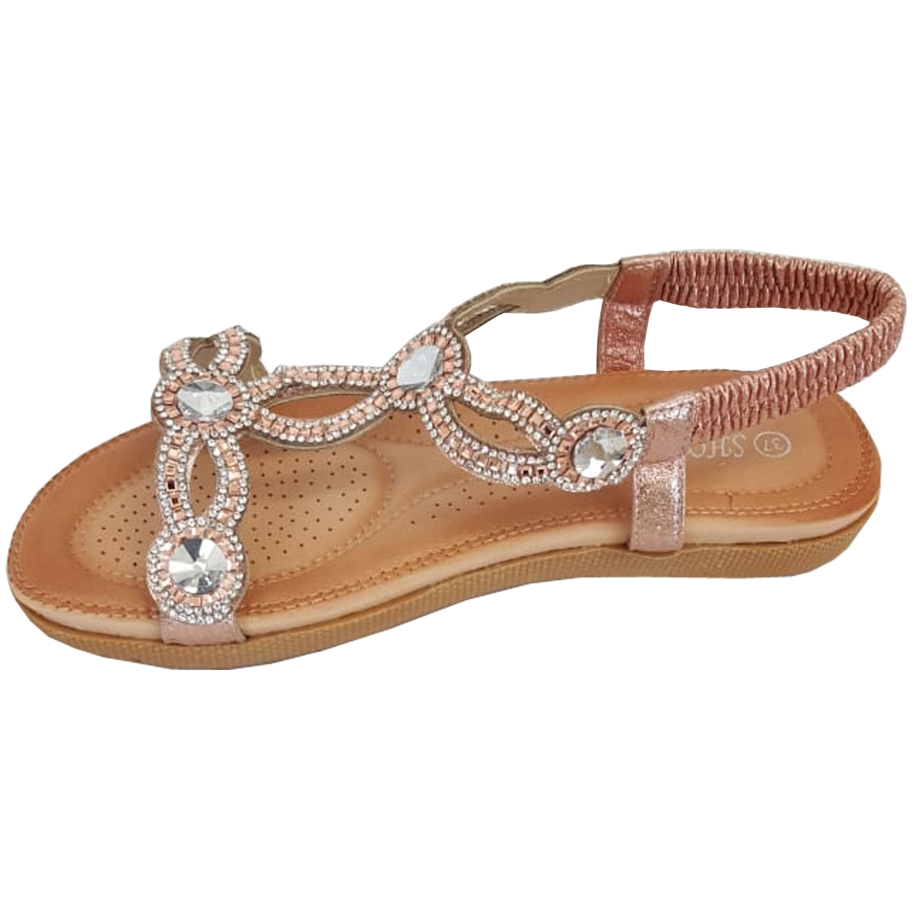 Ladies-Sandals-Womens-Diamante-Sling-Back-Open-Toe-Post-Shoes-Fashion-Summer-New thumbnail 10