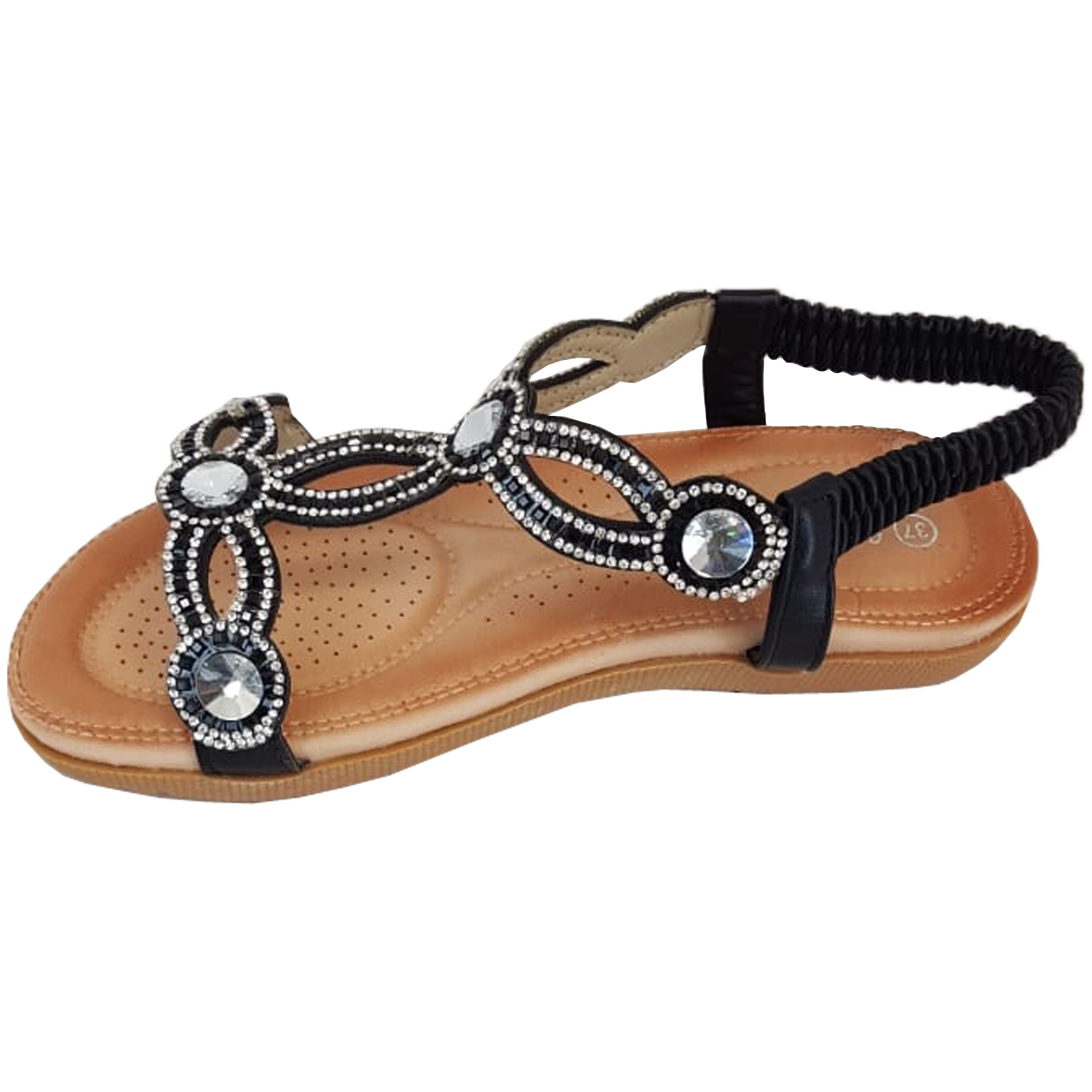 Ladies-Sandals-Womens-Diamante-Sling-Back-Open-Toe-Post-Shoes-Fashion-Summer-New thumbnail 6