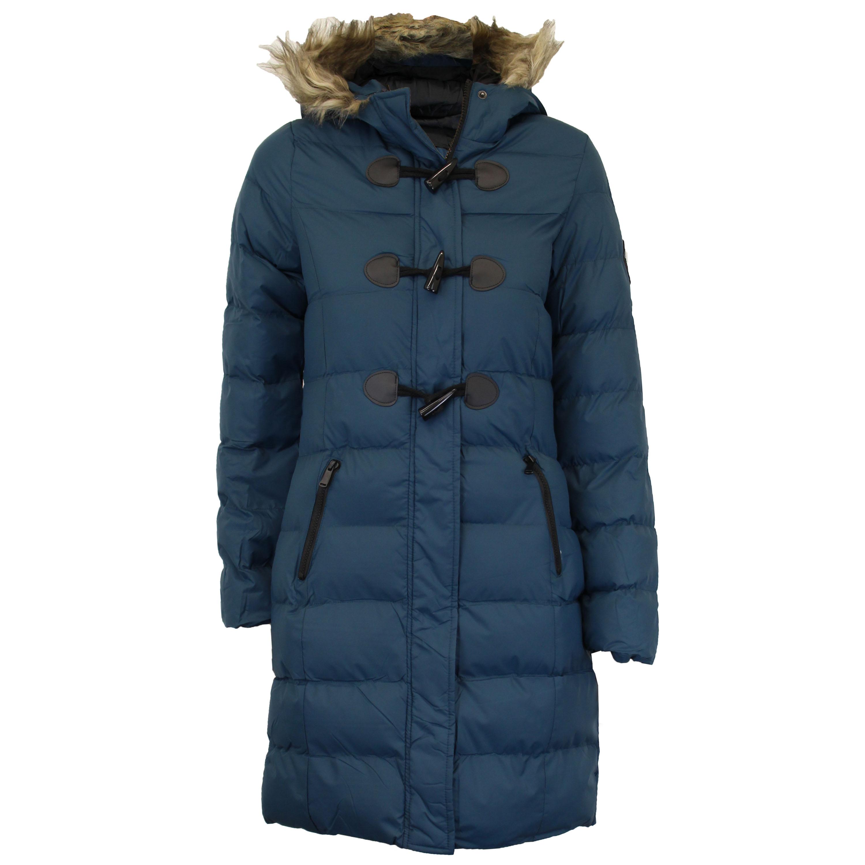 Brave Soul Womens Long Length Baffle Puffa Faux Fur Trim Hood Parka Coat AW1718