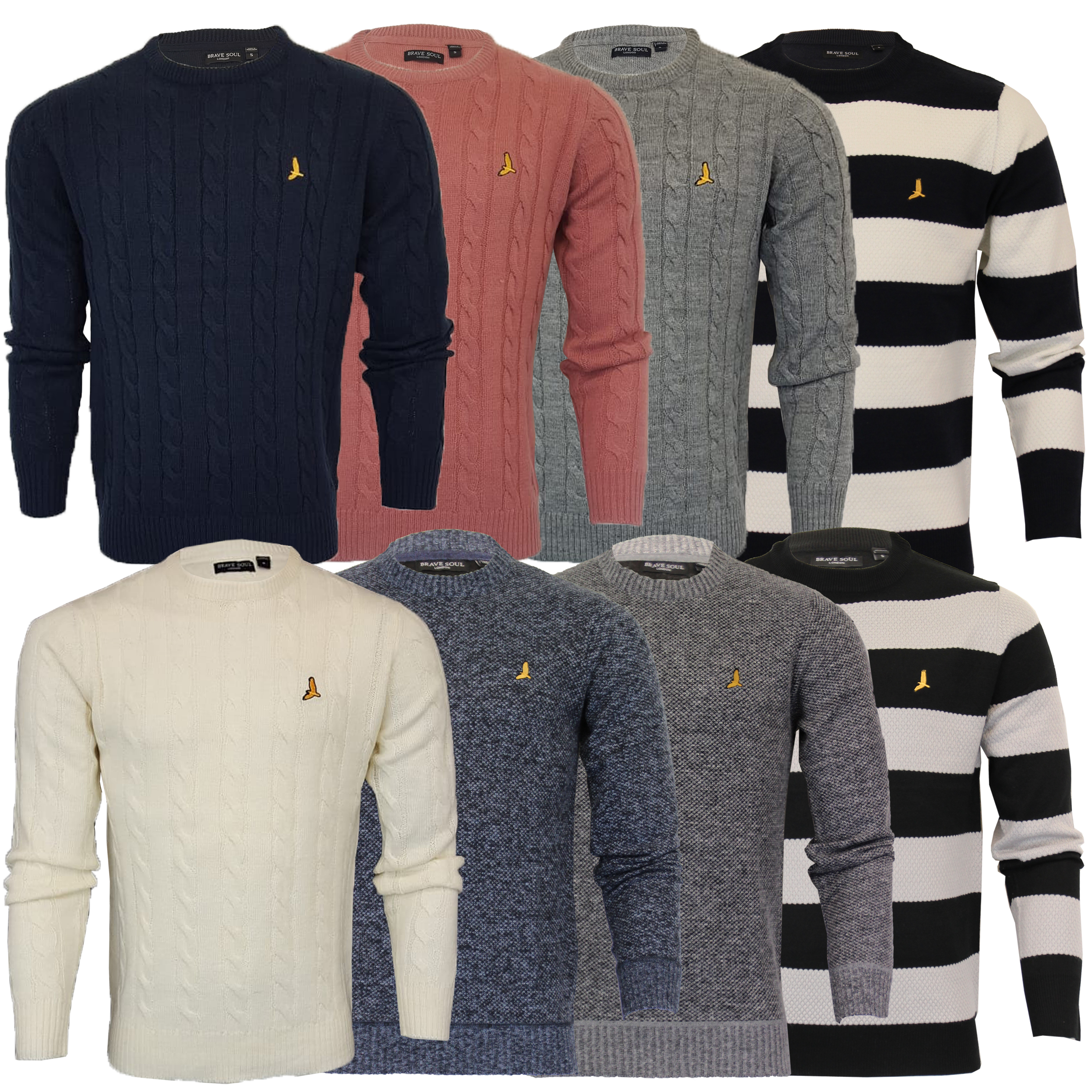 Mens-Jumper-Brave-Soul-Knitted-Sweater-Pullover-GOODWIN-Crew-Neck-Top-Winter-New thumbnail 4