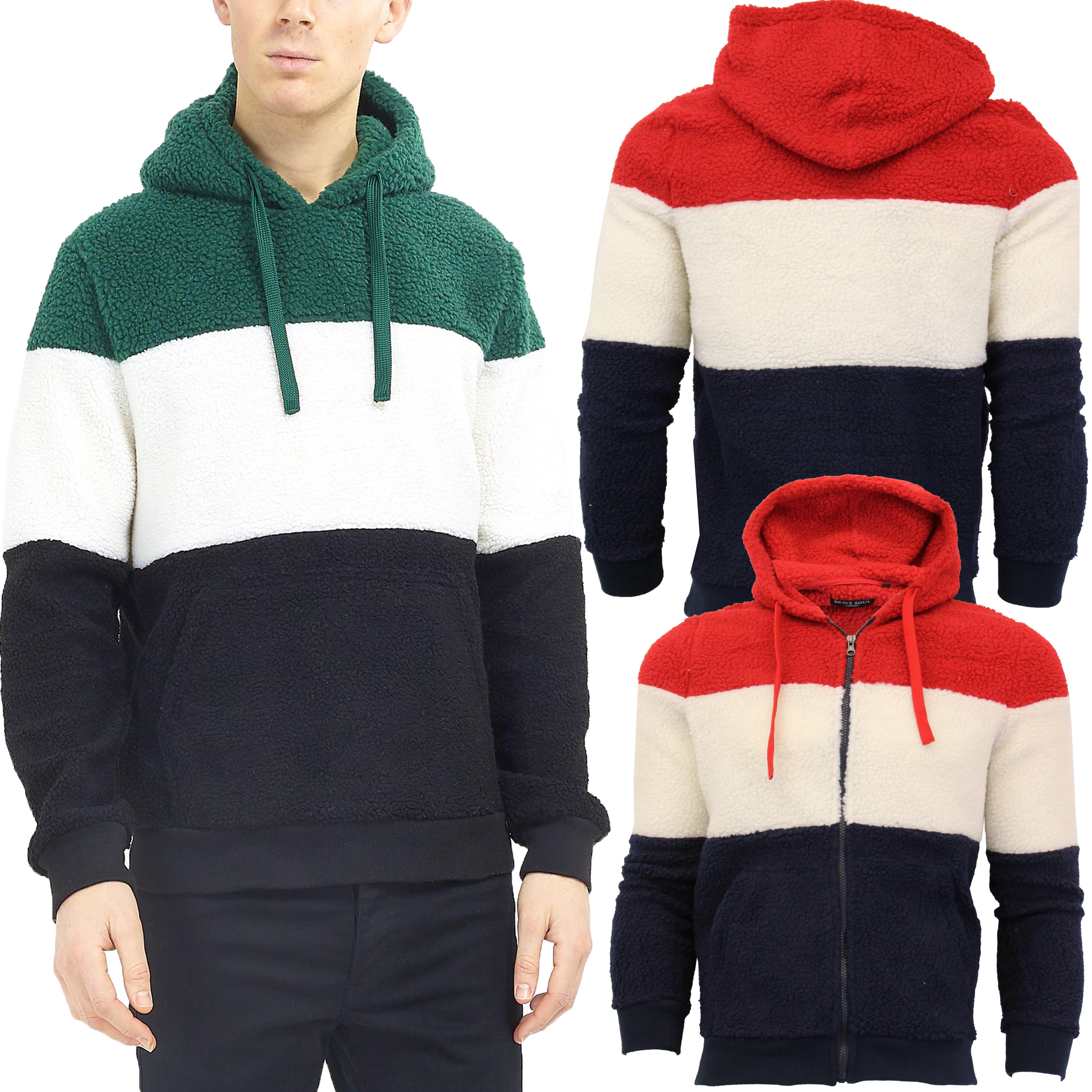 Mens-Sherpa-Fleece-Borg-Sweatshirt-Brave-Soul-Over-The-Head-Hooded-Top-Block-New thumbnail 4