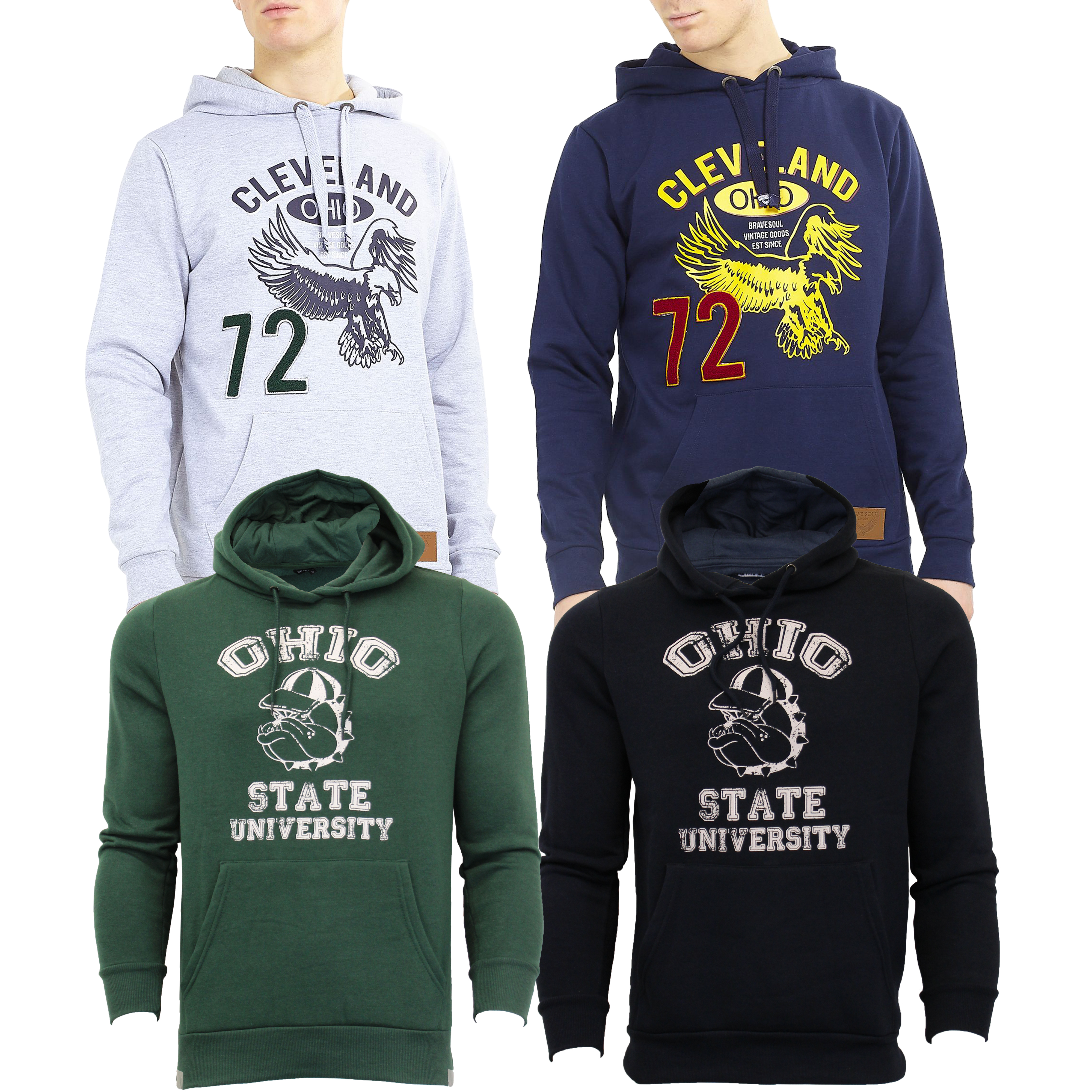 Mens-Sweatshirt-Brave-Soul-Over-The-Head-Hoodie-OHIO-Pullover-Top-CLEVELAND-New thumbnail 5