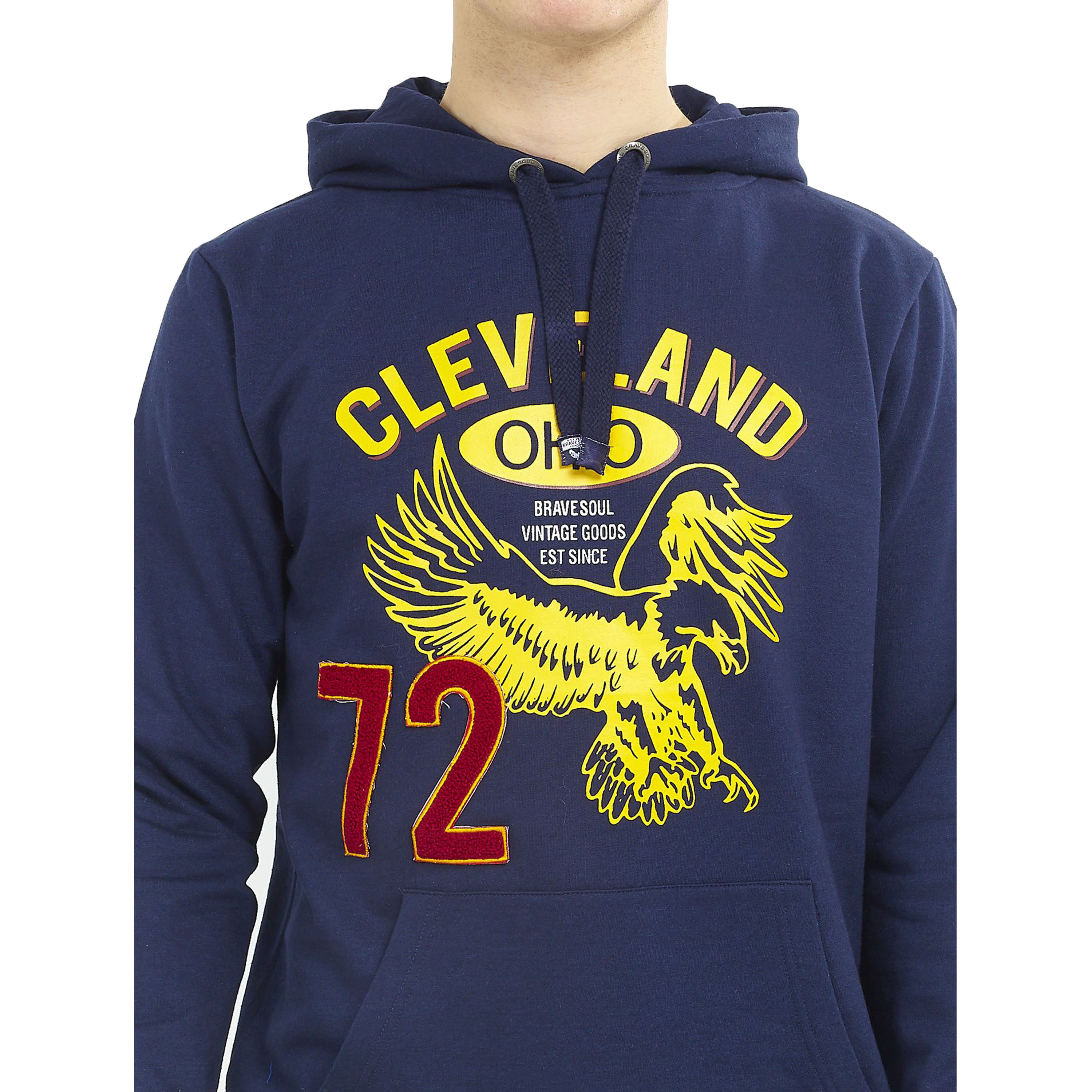 Mens-Sweatshirt-Brave-Soul-Over-The-Head-Hoodie-OHIO-Pullover-Top-CLEVELAND-New thumbnail 14