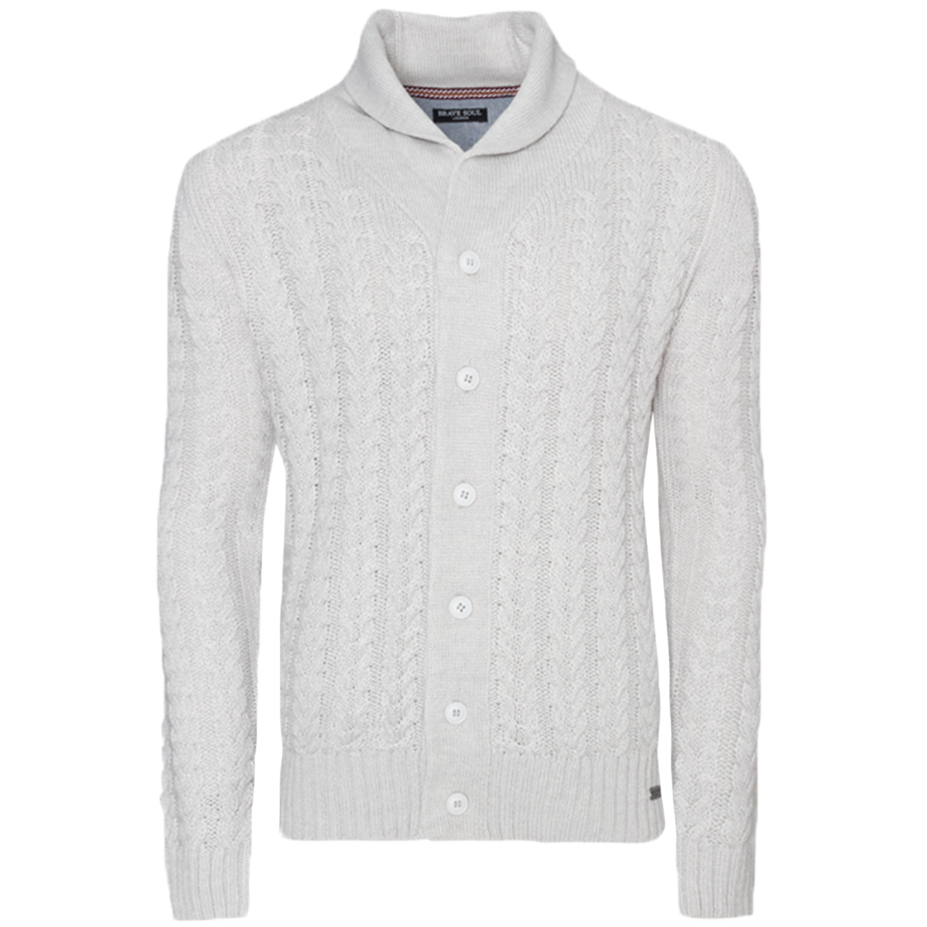 Mens Cable Knitted Cardigan Brave Soul Buttoned Sweater Shawl Neck Winter New