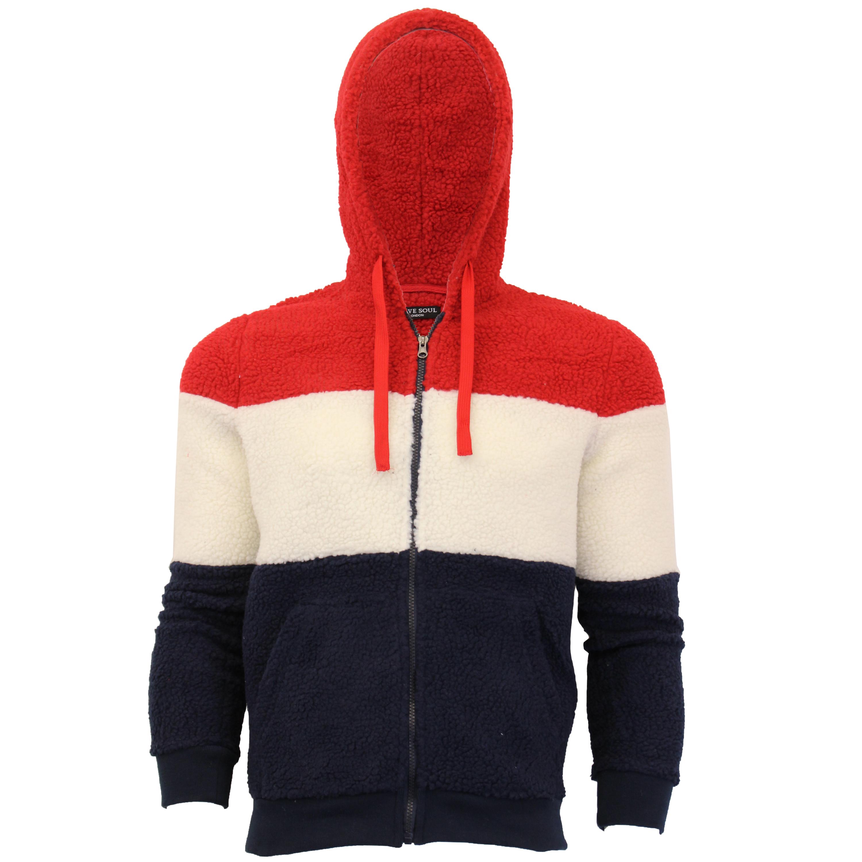 Mens-Sherpa-Fleece-Borg-Sweatshirt-Brave-Soul-Over-The-Head-Hooded-Top-Block-New thumbnail 6