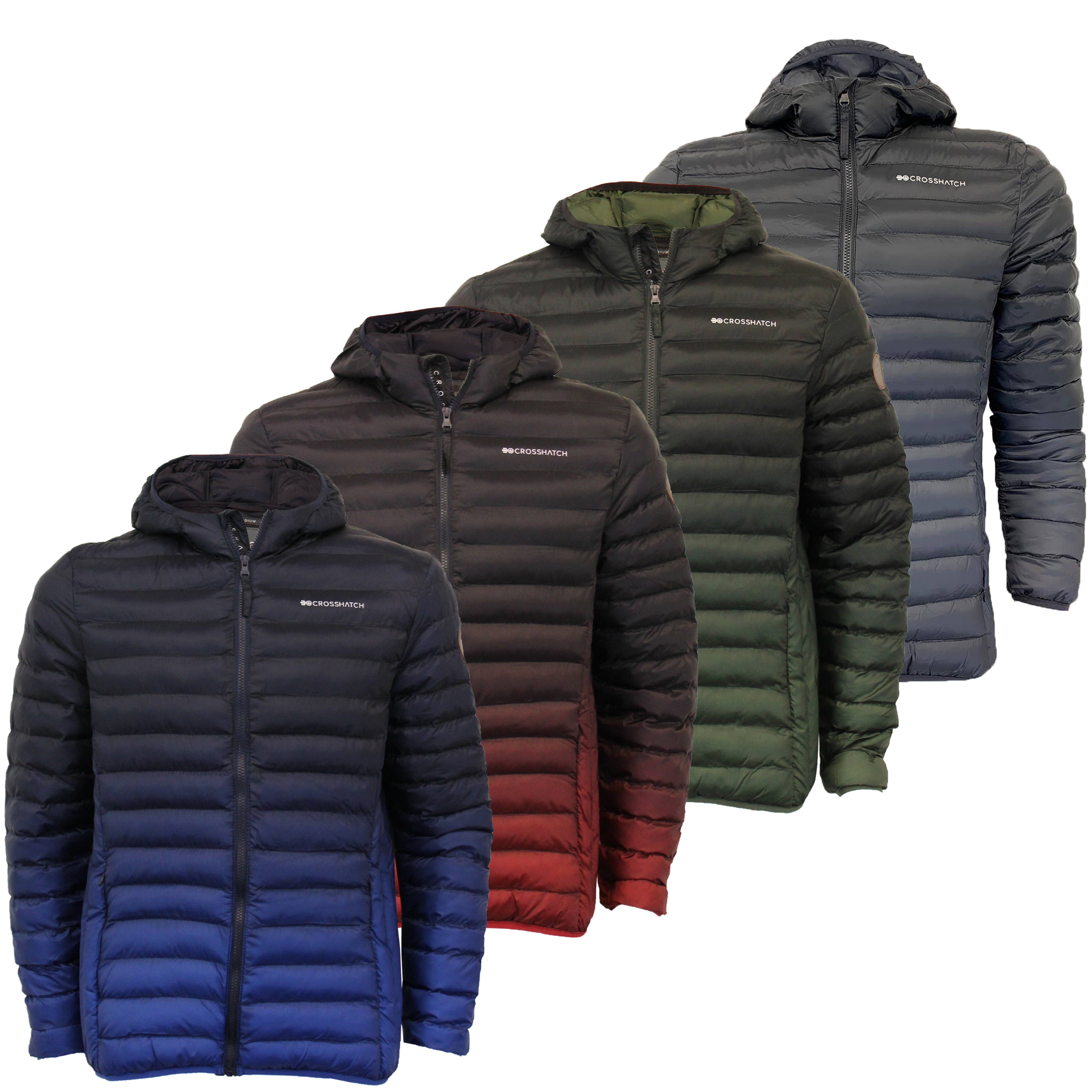 Mens-Jacket-Crosshatch-Hooded-Padded-Quilted-Two-Tone-FADEDOWN-Lined-Winter-New thumbnail 6
