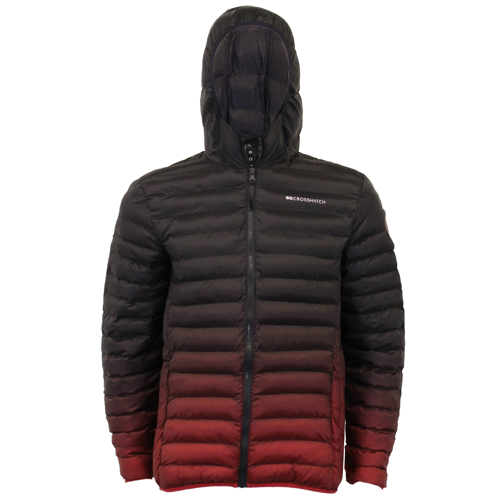 Mens-Jacket-Crosshatch-Hooded-Padded-Quilted-Two-Tone-FADEDOWN-Lined-Winter-New thumbnail 8