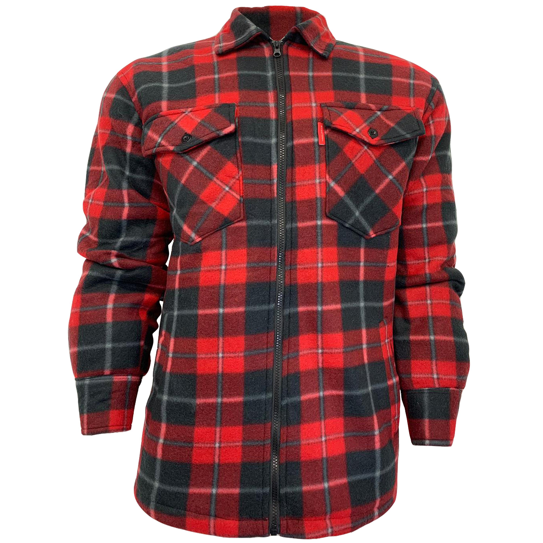 Mens-Sweatshirt-Hooded-Top-Shirt-Lumberjack-Flannel-Jacket-Check-Sherpa-Fleece thumbnail 12