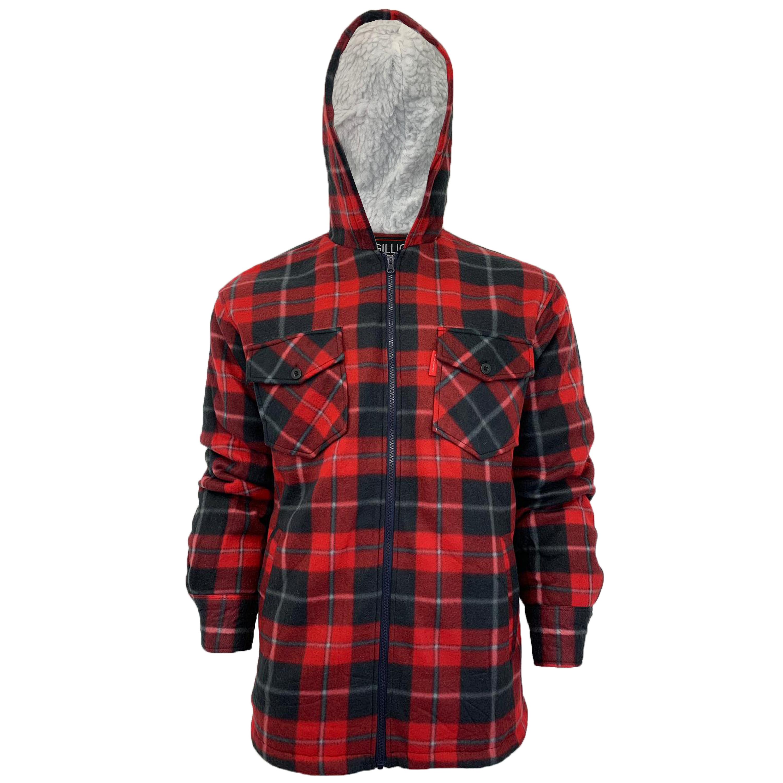 Mens-Sweatshirt-Hooded-Top-Shirt-Lumberjack-Flannel-Jacket-Check-Sherpa-Fleece thumbnail 16