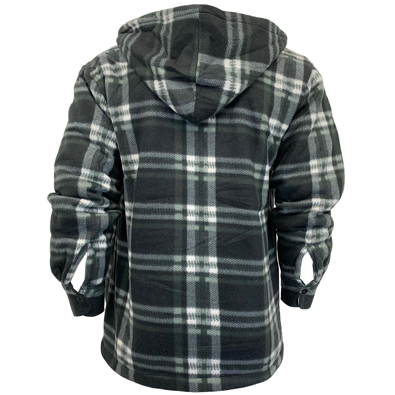 Mens-Sweatshirt-Hooded-Top-Shirt-Lumberjack-Flannel-Jacket-Check-Sherpa-Fleece thumbnail 7