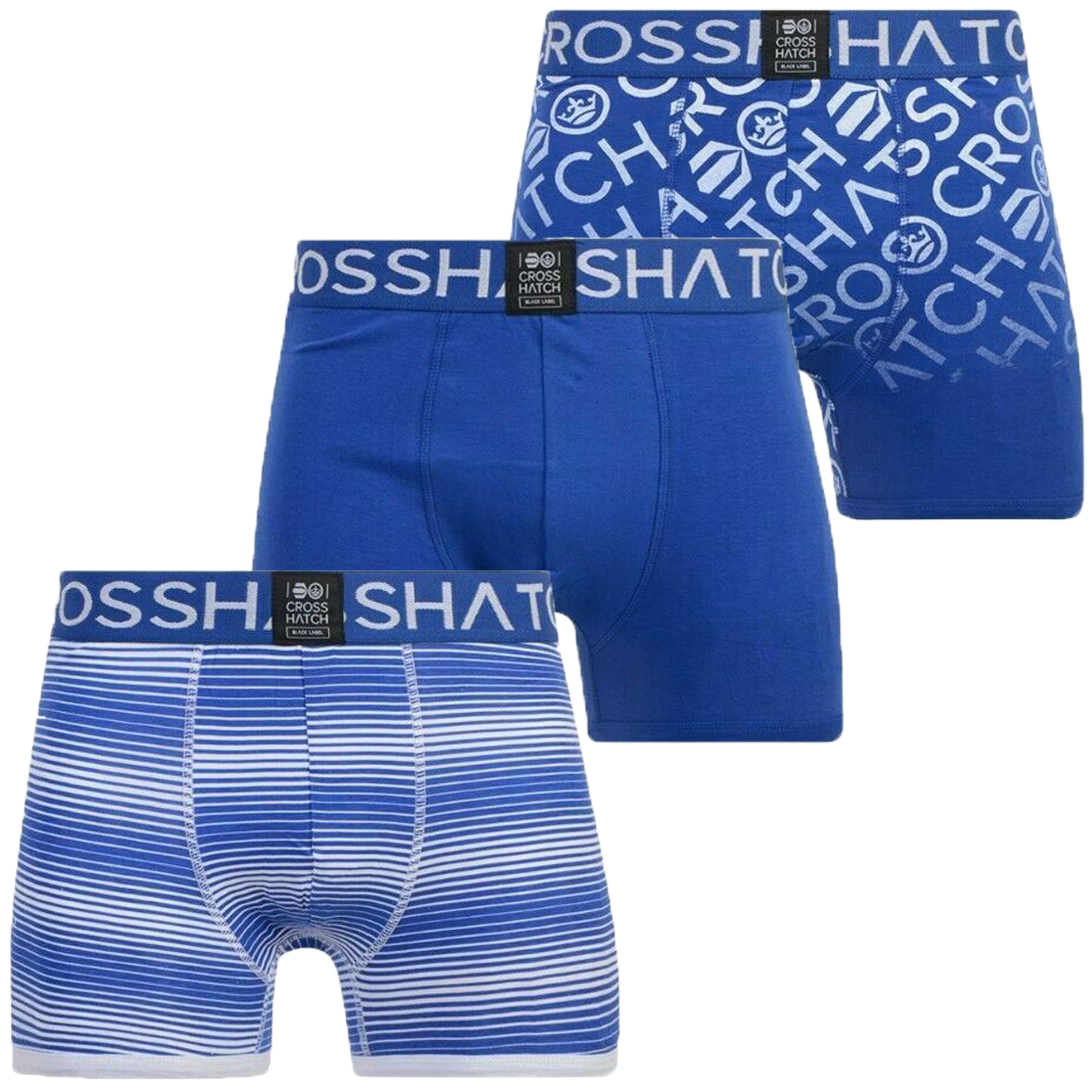 thumbnail 10 - Mens Boxer Crosshatch Underwear 3 Pack Printed Trunks Waistband Logo Branded New