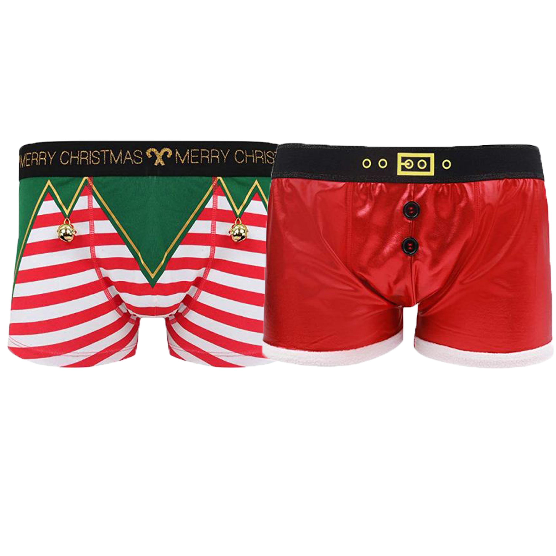 Men/'s Christmas Santa /& Elf Boxer Shorts