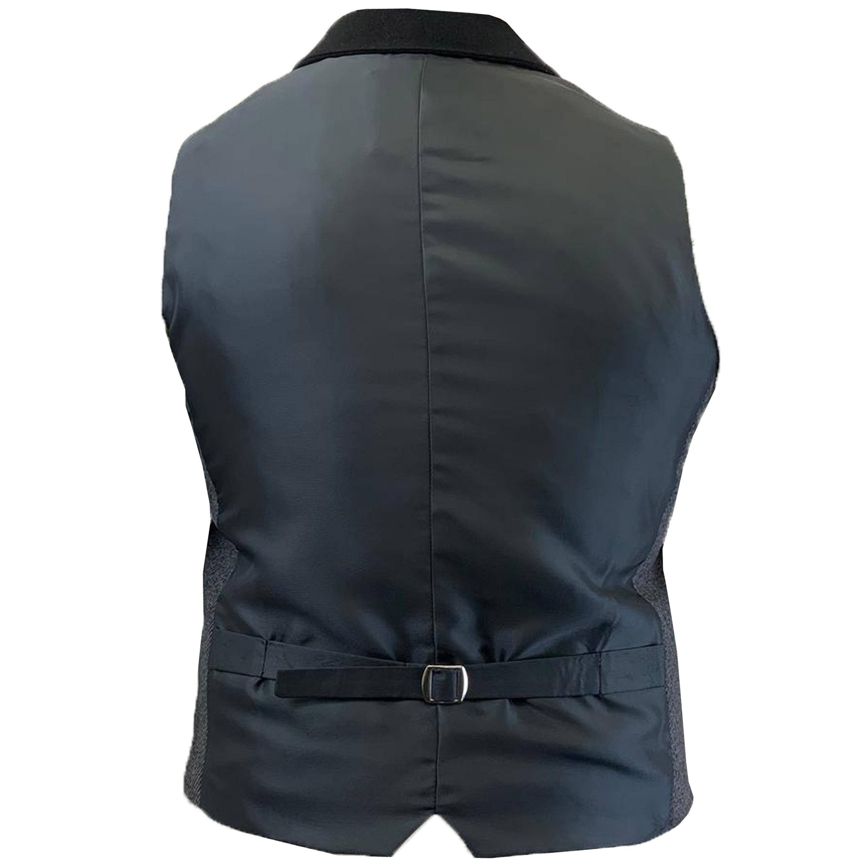 Mens-Waistcoat-Wool-Mix-Cavani-Formal-Vest-Herringbone-Tweed-Check-Party-Smart thumbnail 16