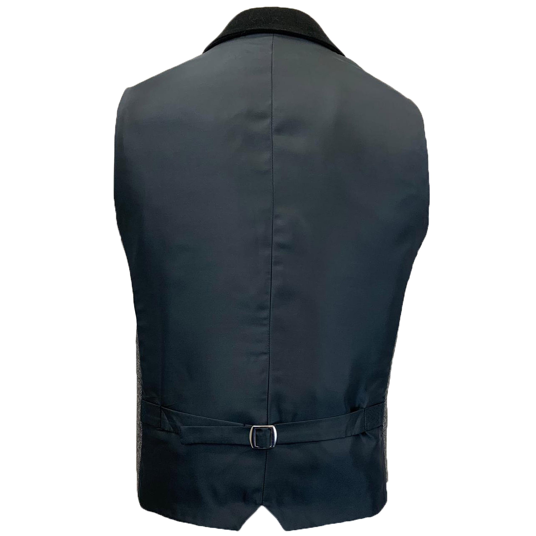 Mens-MARENO-Waistcoat-Wool-Mix-Formal-Vest-Herringbone-Tweed-Check-Velvet-Lined thumbnail 13