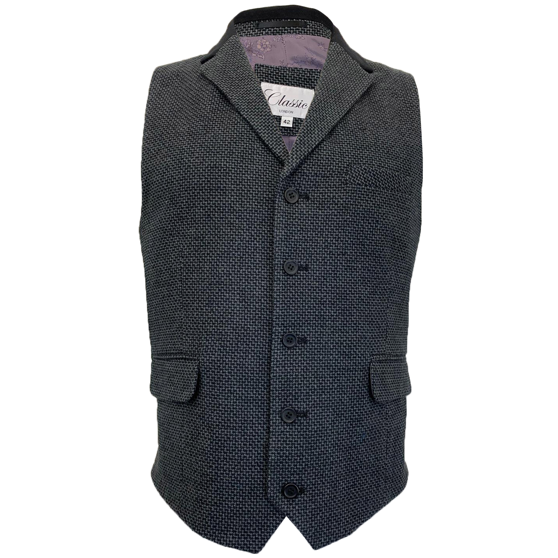 Mens-MARENO-Waistcoat-Wool-Mix-Formal-Vest-Herringbone-Tweed-Check-Velvet-Lined thumbnail 4