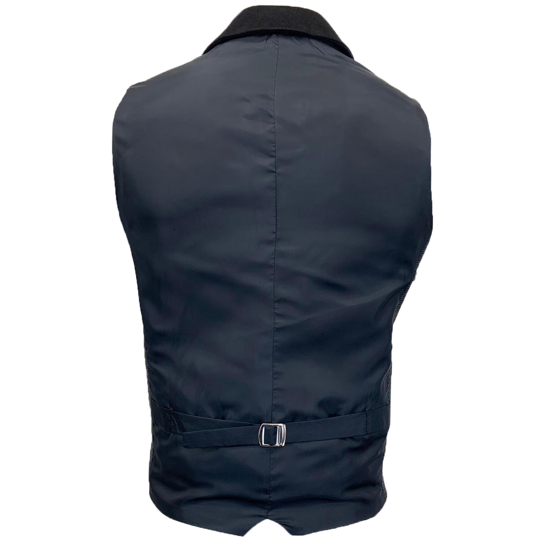 Mens-MARENO-Waistcoat-Wool-Mix-Formal-Vest-Herringbone-Tweed-Check-Velvet-Lined thumbnail 5