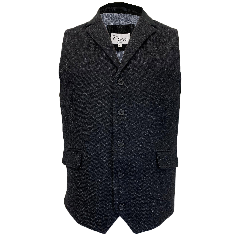 Mens-MARENO-Waistcoat-Wool-Mix-Formal-Vest-Herringbone-Tweed-Check-Velvet-Lined thumbnail 2