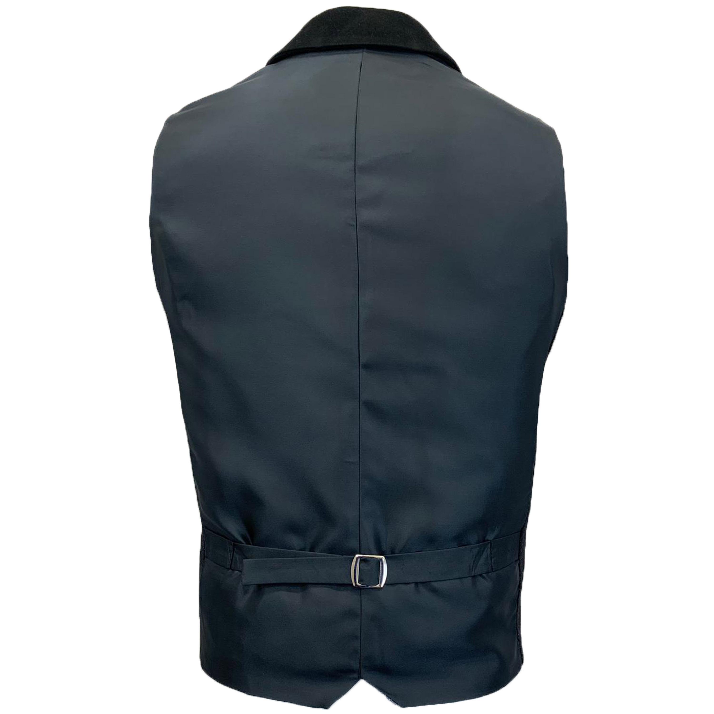 Mens-MARENO-Waistcoat-Wool-Mix-Formal-Vest-Herringbone-Tweed-Check-Velvet-Lined thumbnail 3
