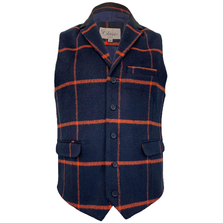 Mens-MARENO-Waistcoat-Wool-Mix-Formal-Vest-Herringbone-Tweed-Check-Velvet-Lined thumbnail 37