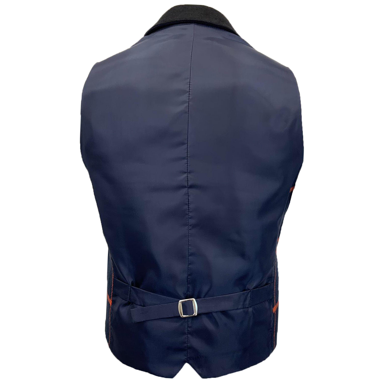 Mens-MARENO-Waistcoat-Wool-Mix-Formal-Vest-Herringbone-Tweed-Check-Velvet-Lined thumbnail 38