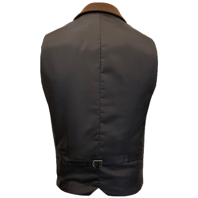 Mens-MARENO-Waistcoat-Wool-Mix-Formal-Vest-Herringbone-Tweed-Check-Velvet-Lined thumbnail 10