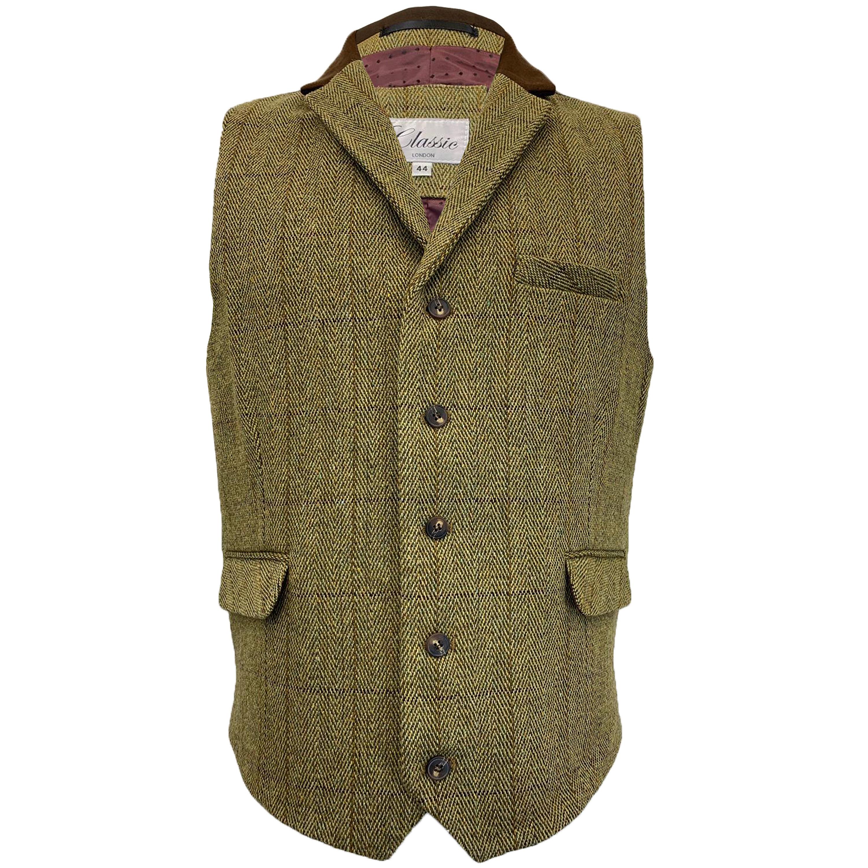 Mens-MARENO-Waistcoat-Wool-Mix-Formal-Vest-Herringbone-Tweed-Check-Velvet-Lined thumbnail 46