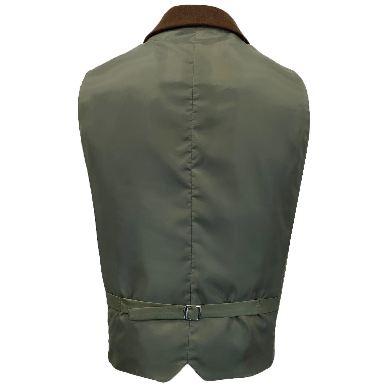 Mens-MARENO-Waistcoat-Wool-Mix-Formal-Vest-Herringbone-Tweed-Check-Velvet-Lined thumbnail 47
