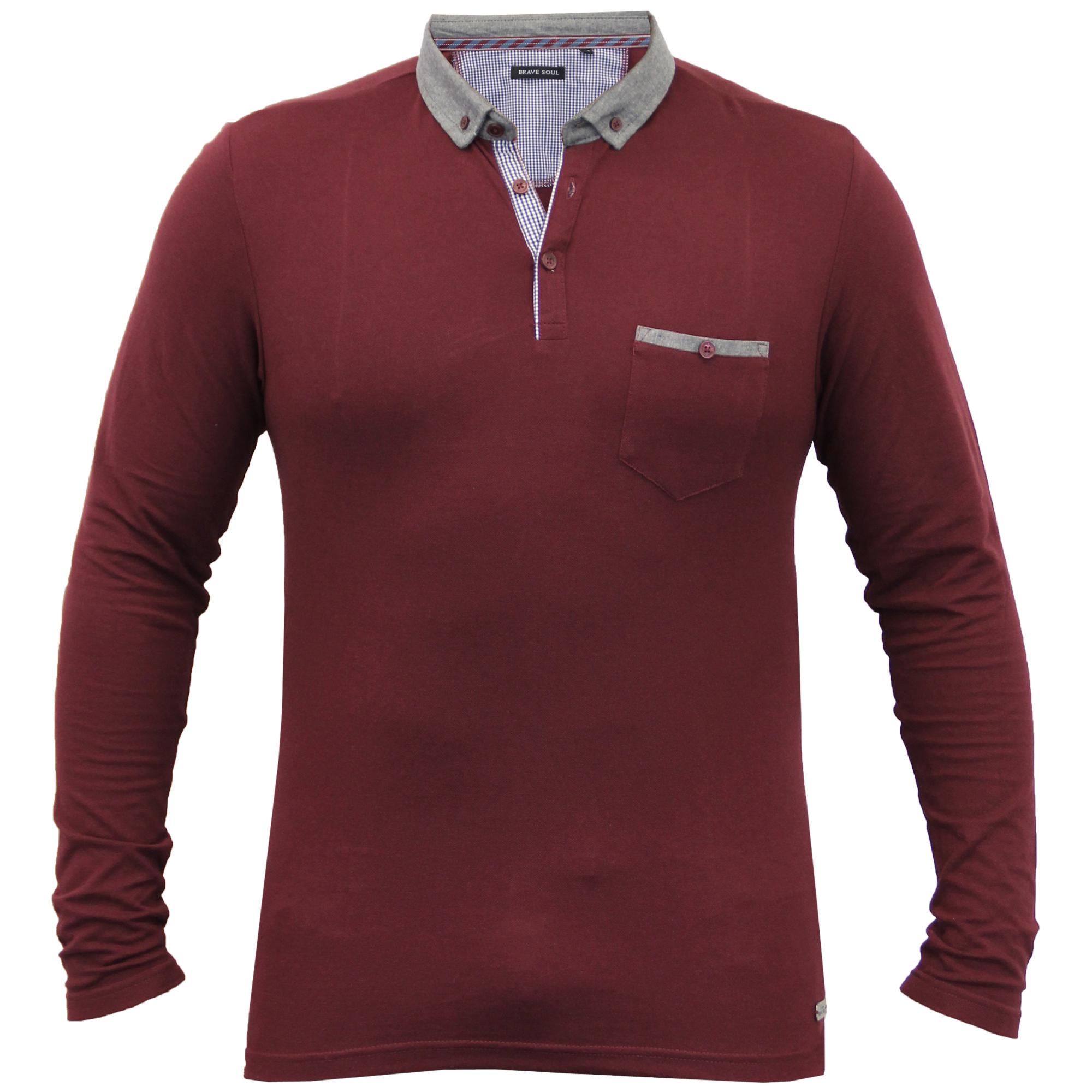 Homme-a-Manches-Longues-Jersey-Top-Brave-Soul-Pique-Polo-T-Shirt-A-Col-Ete-Neuf miniature 8