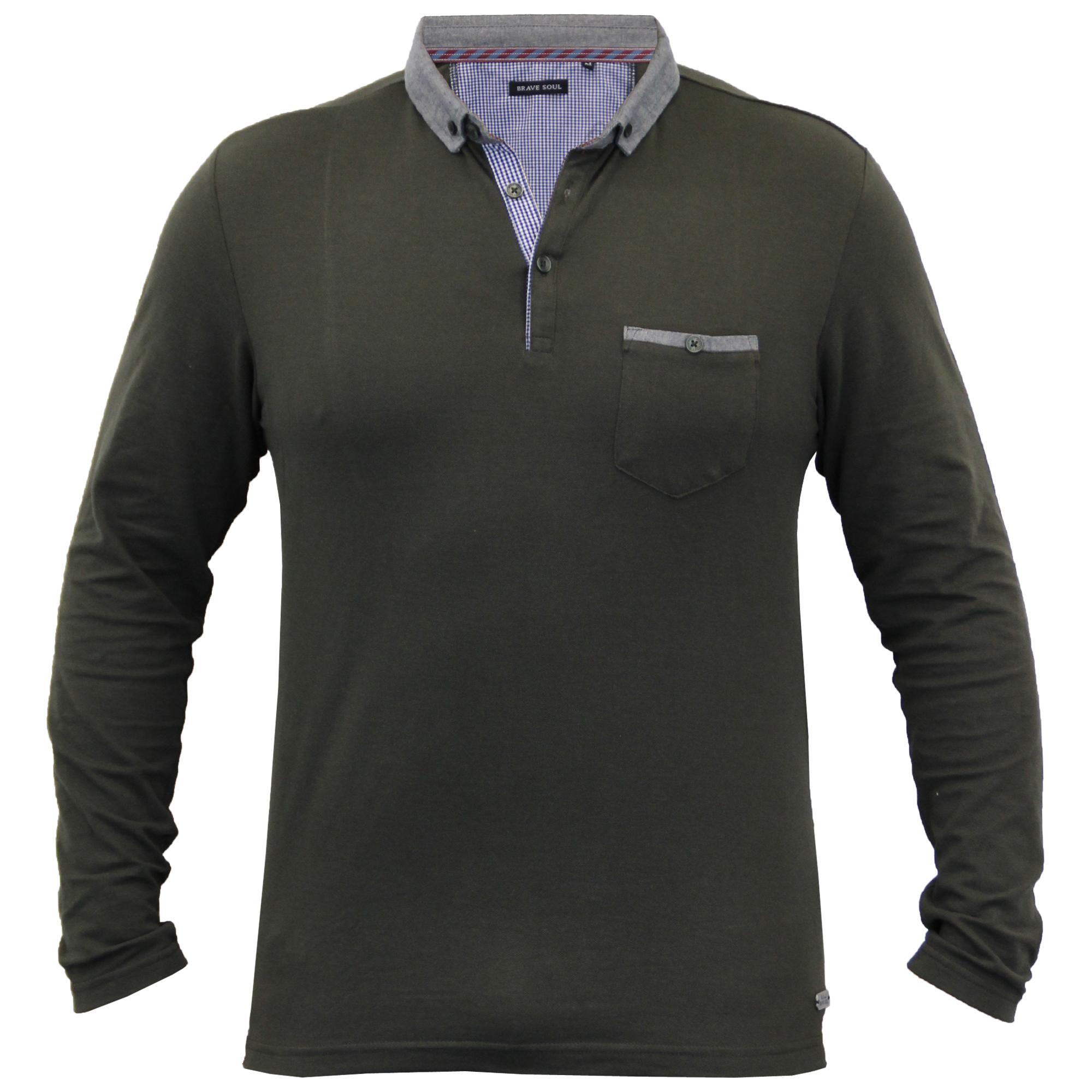Homme-a-Manches-Longues-Jersey-Top-Brave-Soul-Pique-Polo-T-Shirt-A-Col-Ete-Neuf miniature 18