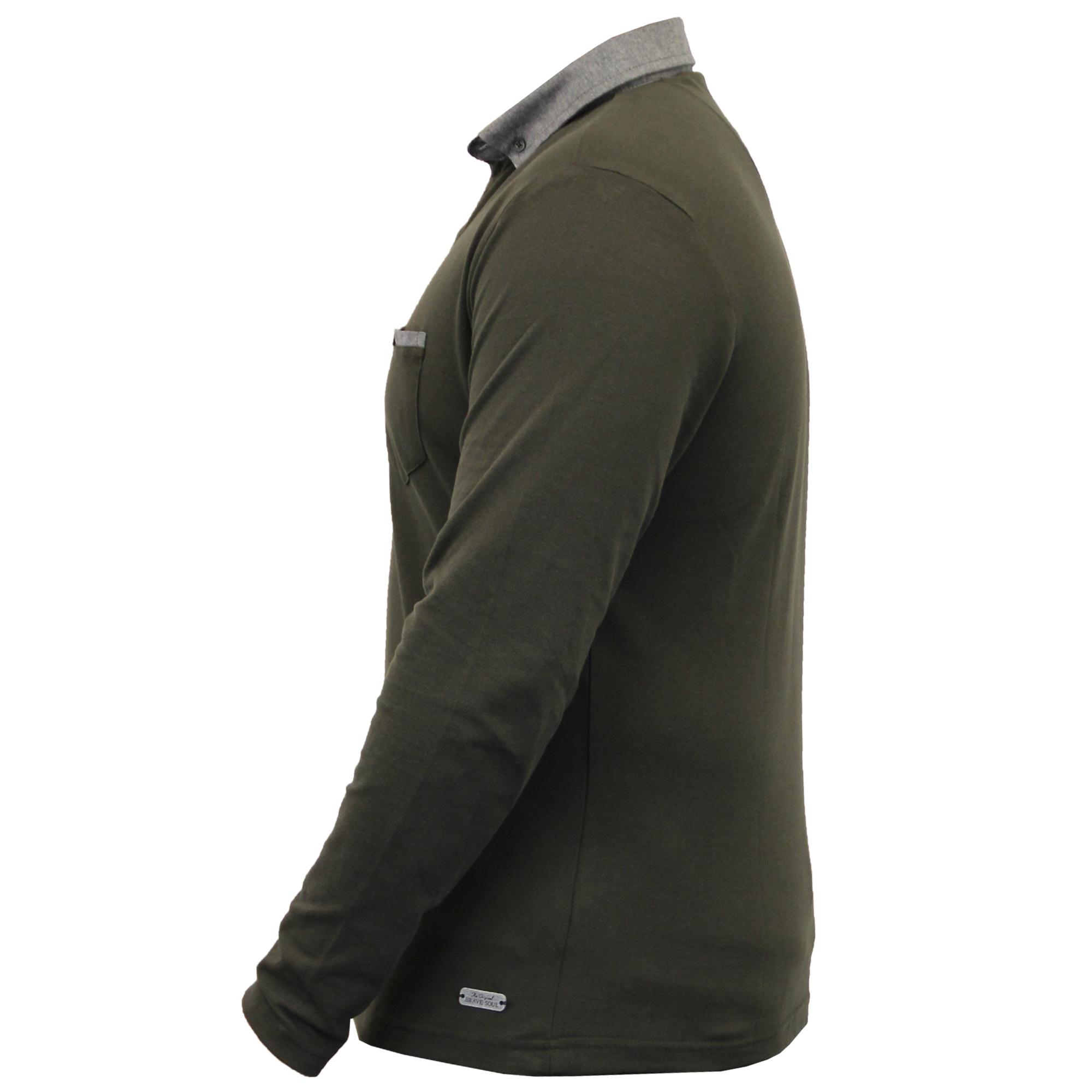 Homme-a-Manches-Longues-Jersey-Top-Brave-Soul-Pique-Polo-T-Shirt-A-Col-Ete-Neuf miniature 19