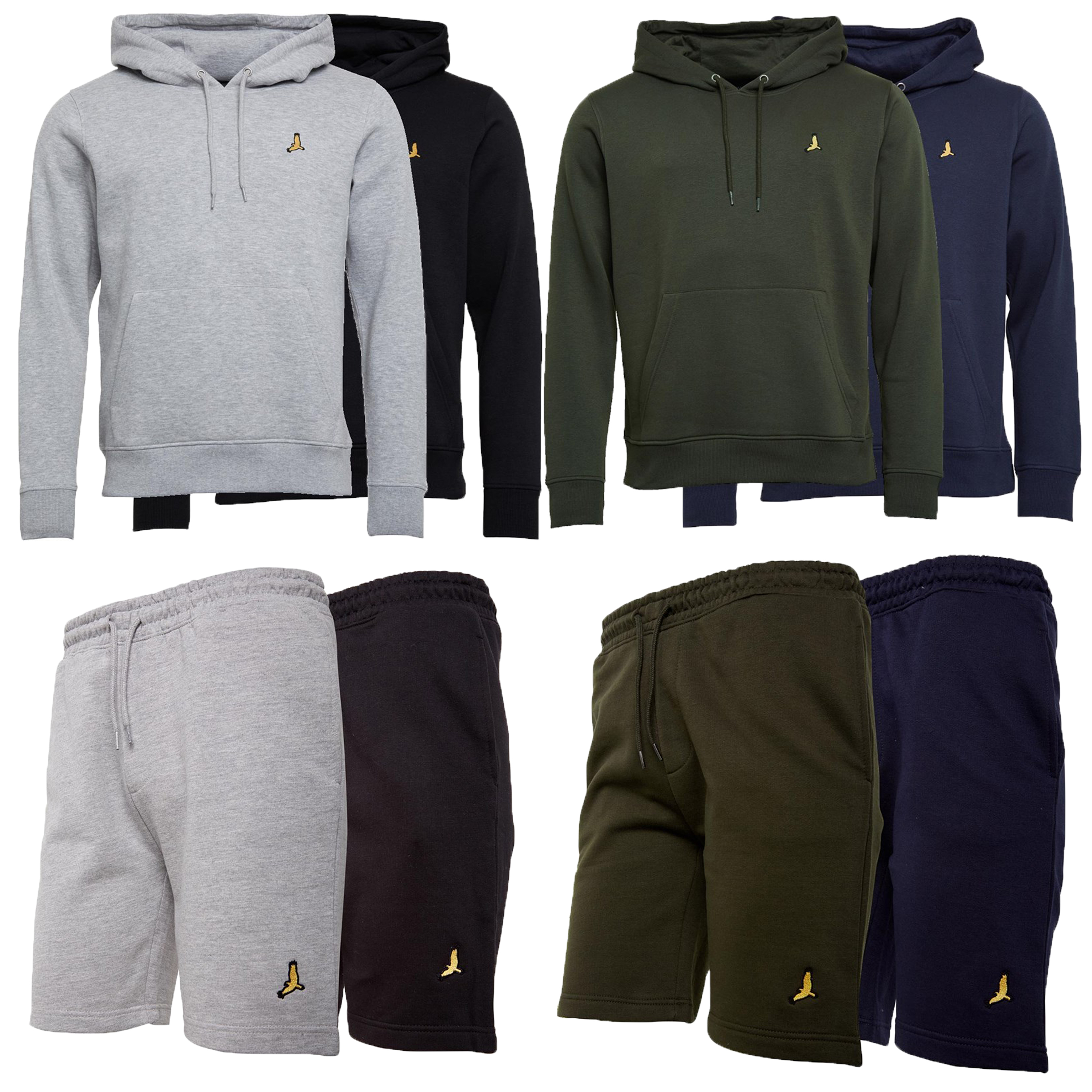 Mens-Brave-Soul-2-Pack-Over-The-Head-Hoodie-Shorts-Brushed-Back-Fleece-Fashion thumbnail 4