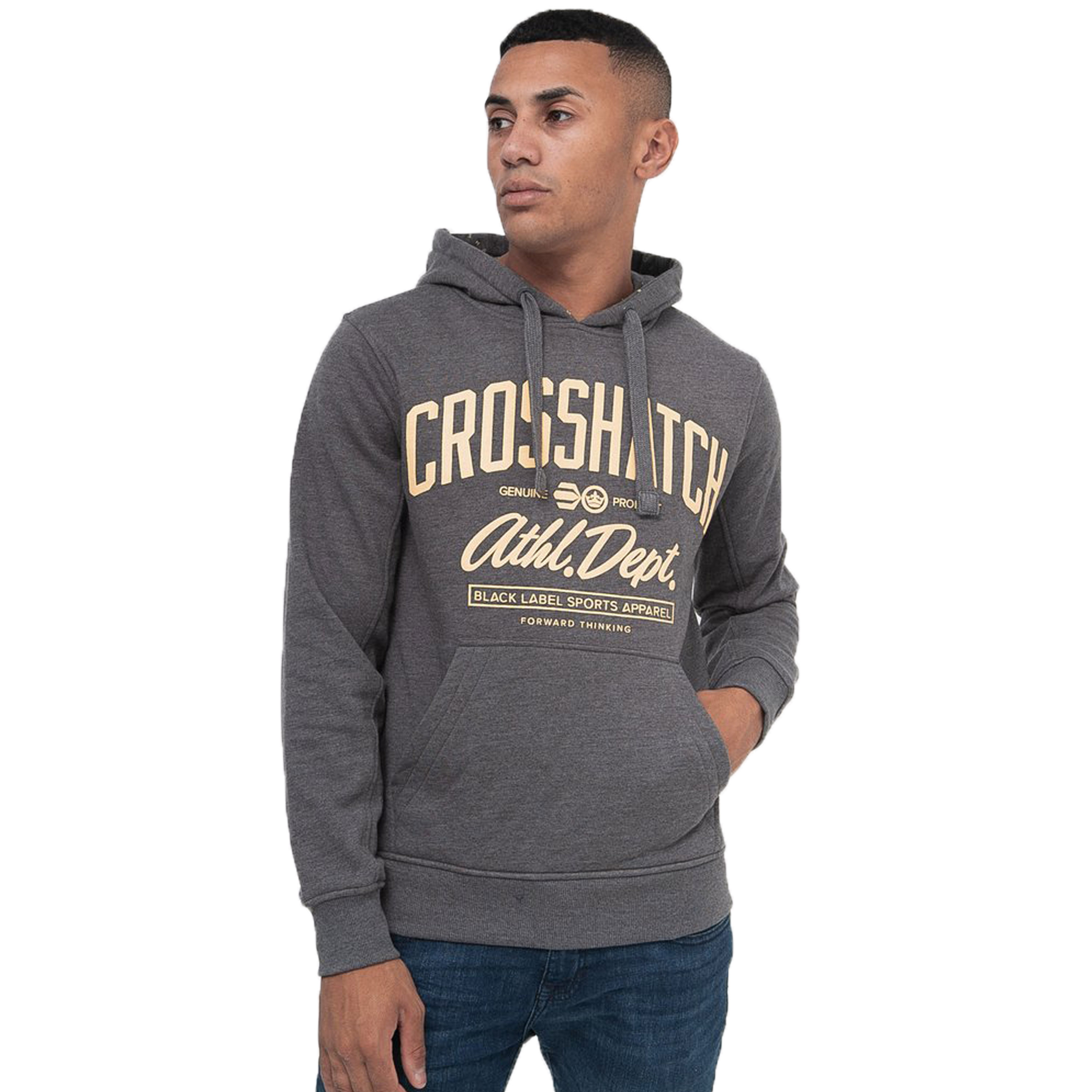 Mens-Sweatshirt-By-Crosshatch-Over-The-Head-Hoodie-Printed-Pullover-Cotton-Top thumbnail 6