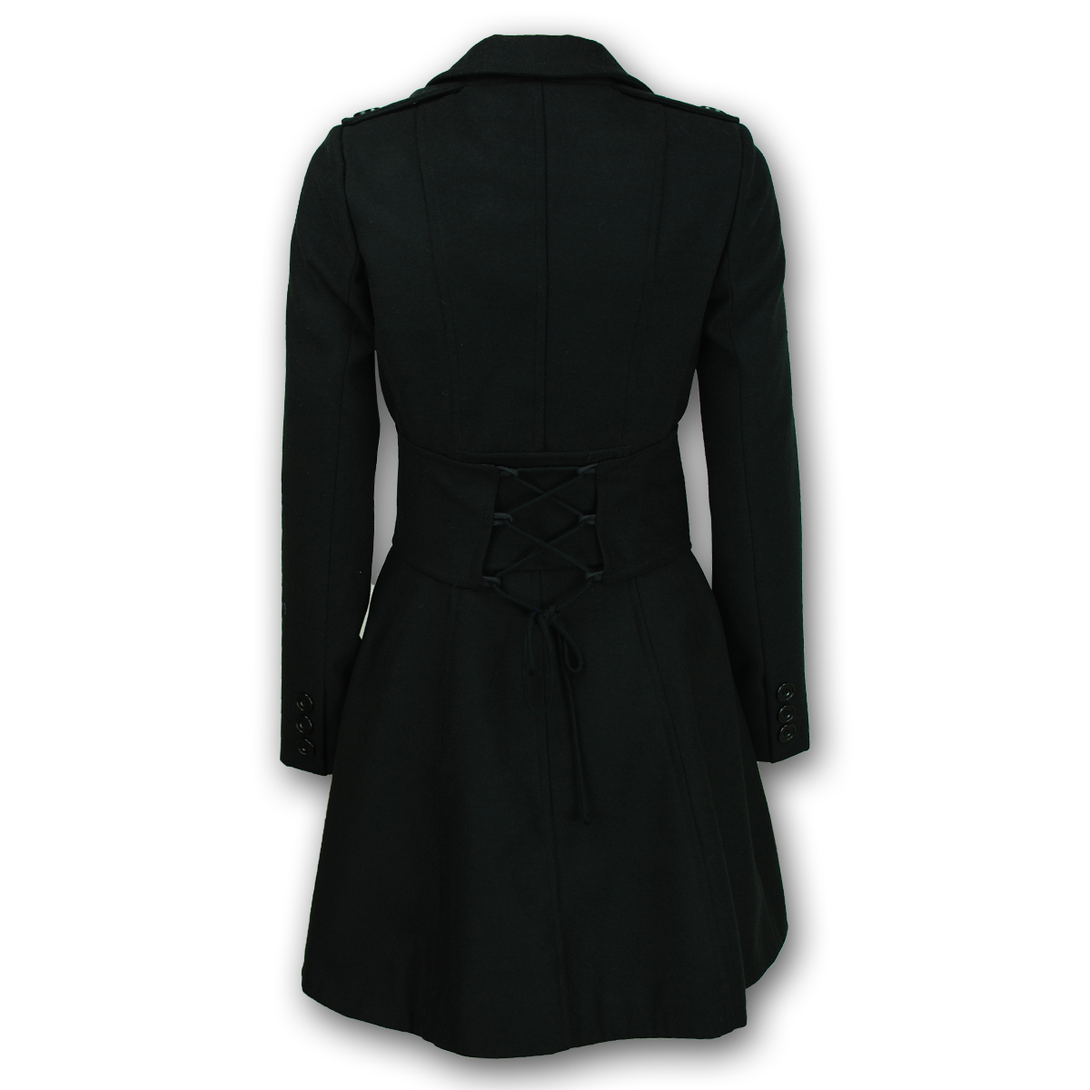Ladies Coat Womens Jacket Wool Look Military Long Button