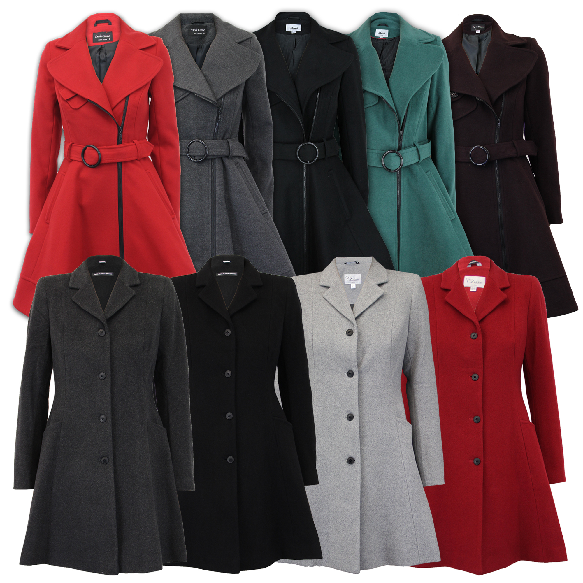 Ladies Coat Womens Jacket Wool LOOK Belt Long Trench Warm Winter ...