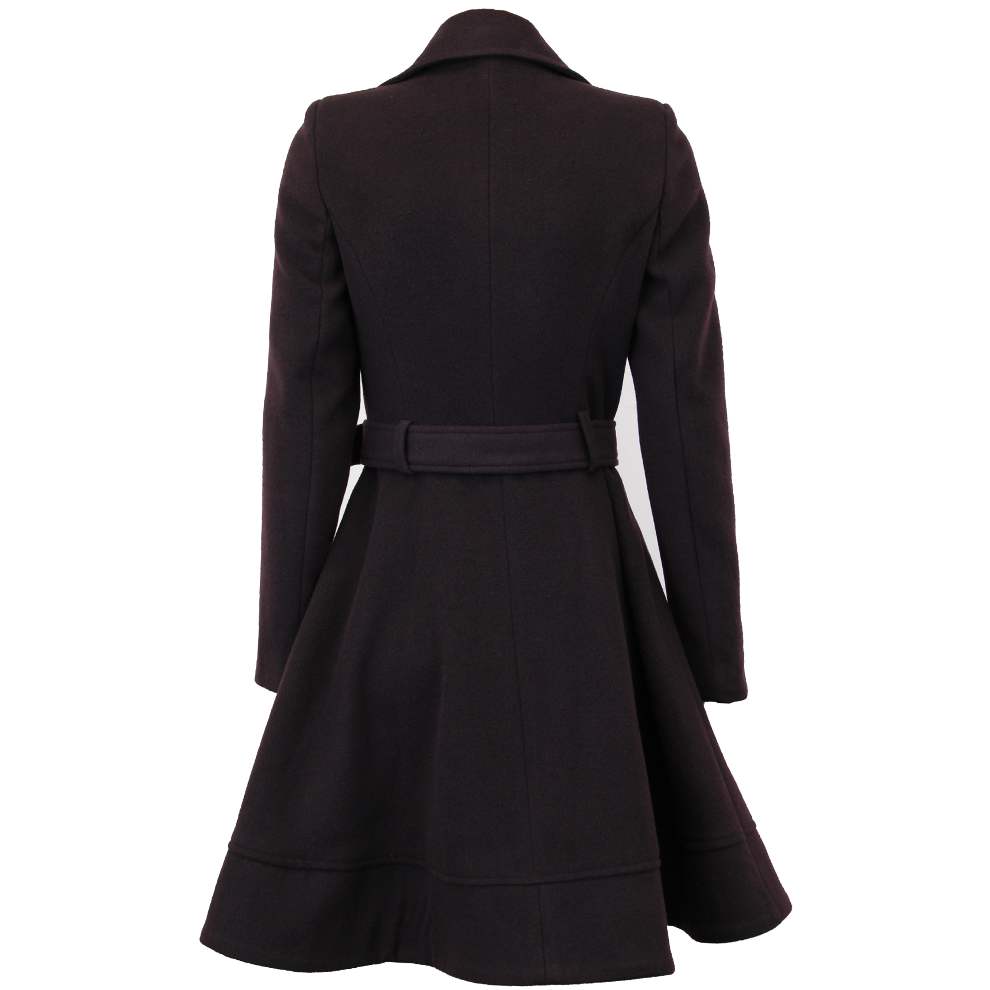Ladies Coat Womens Jacket Wool LOOK Belt Long Trench Warm Winter ... 8ab871bb93