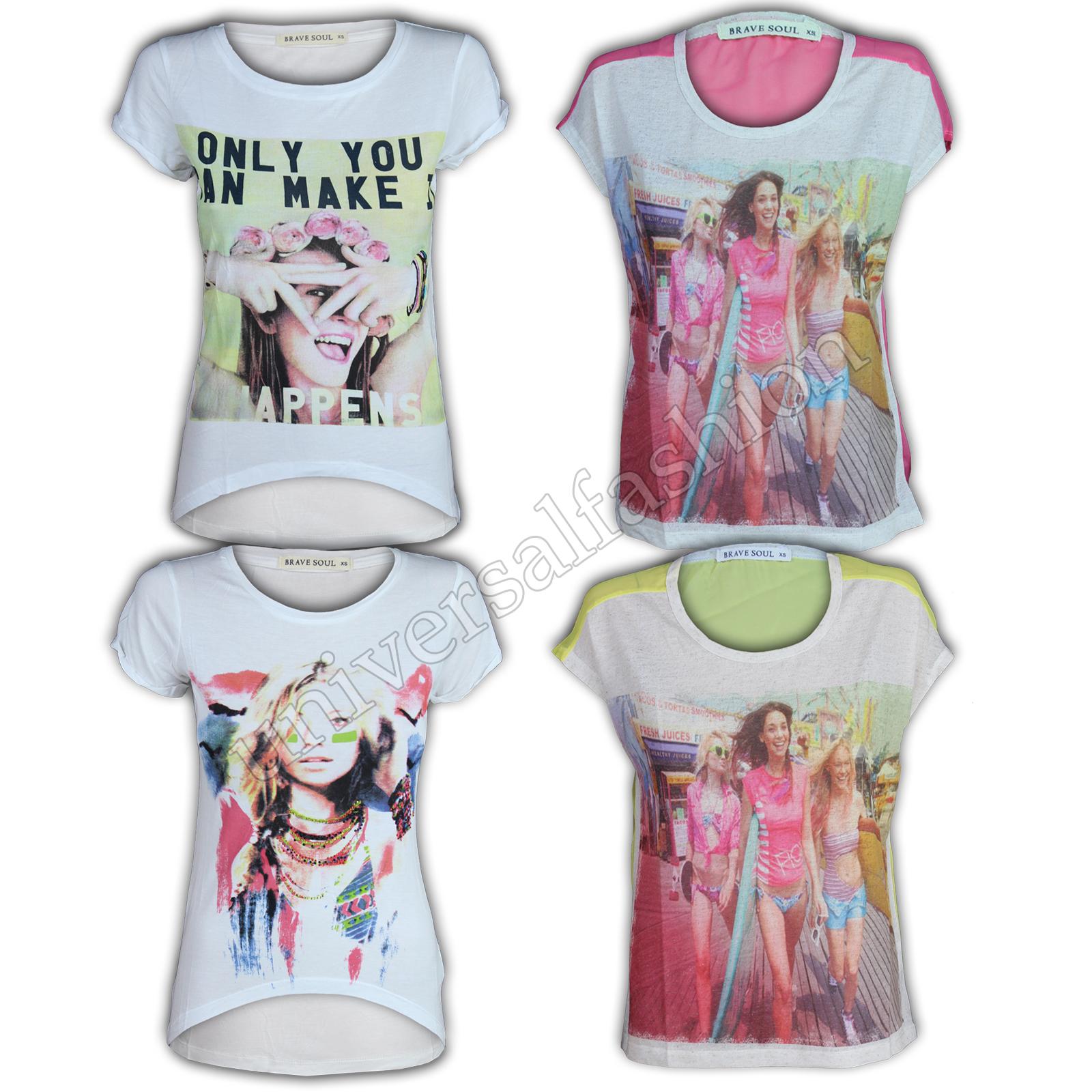 6b45d1767300 Top Donna Brave Soul T-Shirt Ragazze con Stampa Vestibilità Ampia ...