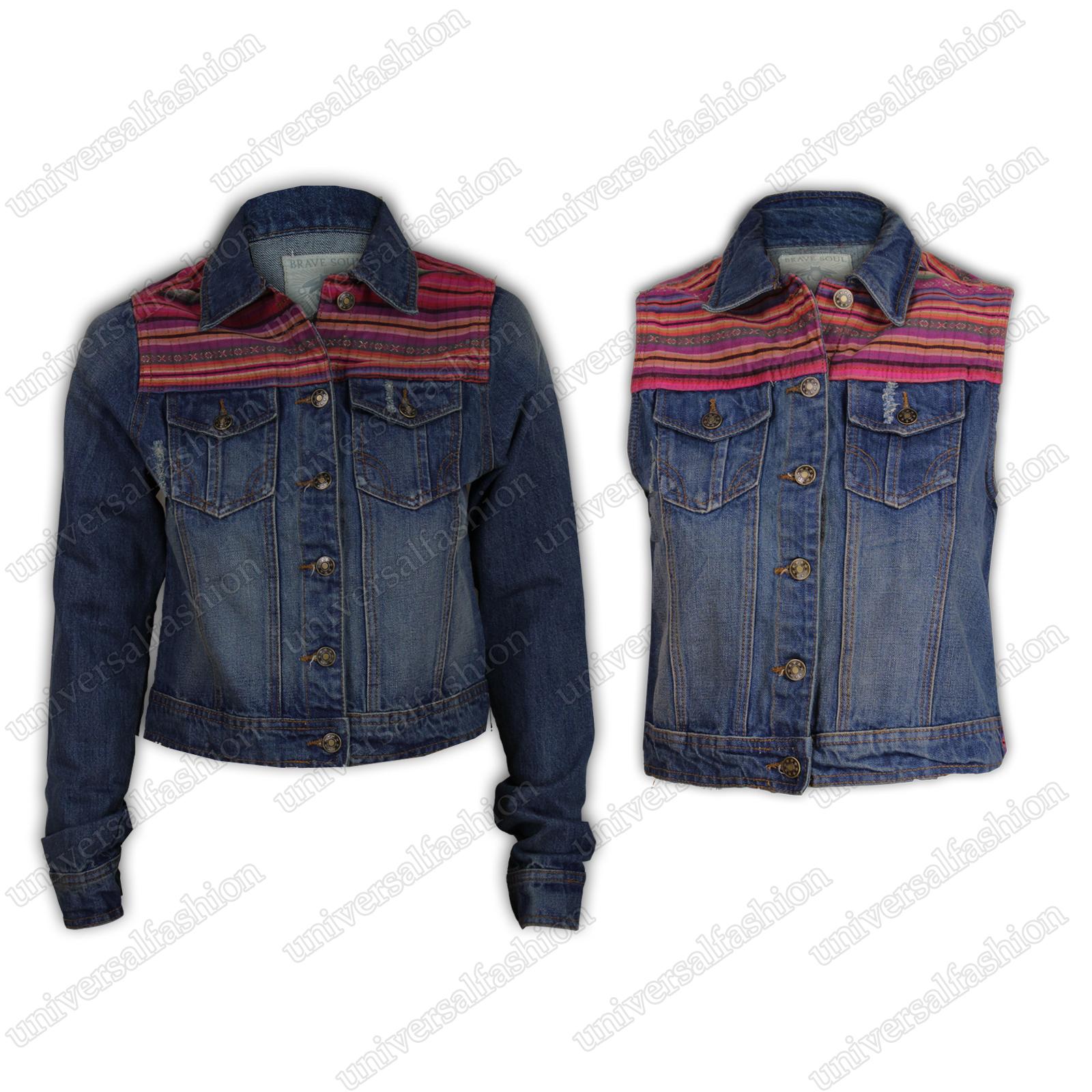 magasiner pour véritable prix attractif service durable Détails sur Mesdames veste en jean femme gilet BRAVE SOUL Jeans crop top  ripped patch ethnique- afficher le titre d'origine