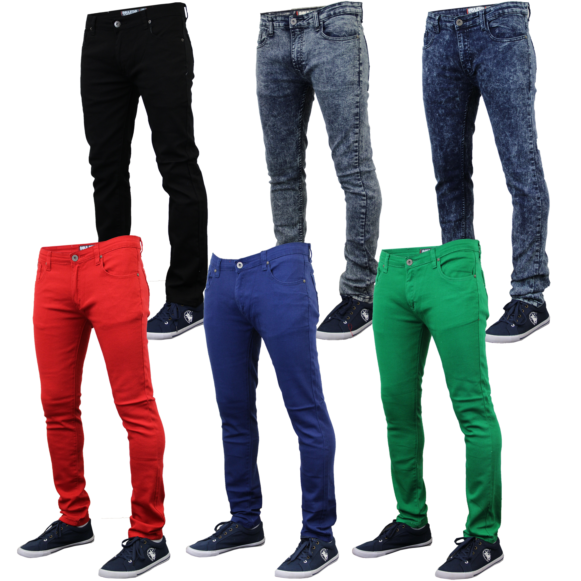 919a8776 Details about Mens Skinny Jeans Soul Star Slim Fit Stretch Denim Pants  Trousers Tapered New
