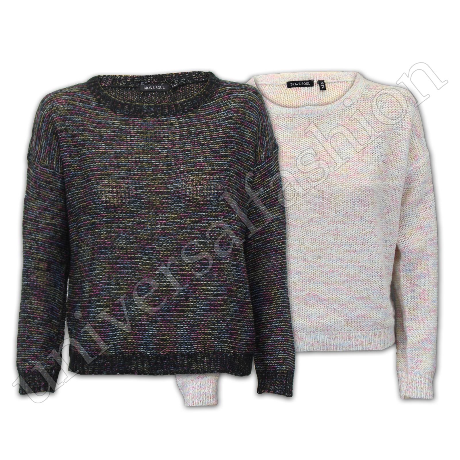 Jumper-Ladies-Alma-valiente-para-mujer-Knitted-holgados-Top-Sweater-Pullover-de-punto-Partido miniatura 4