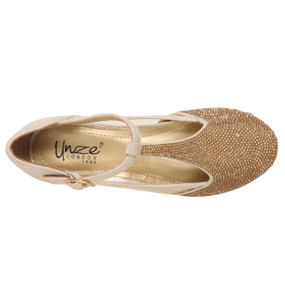 Unze Chicas Starlet Adornado Sandalias De Noche Uk Size 1-13 oro