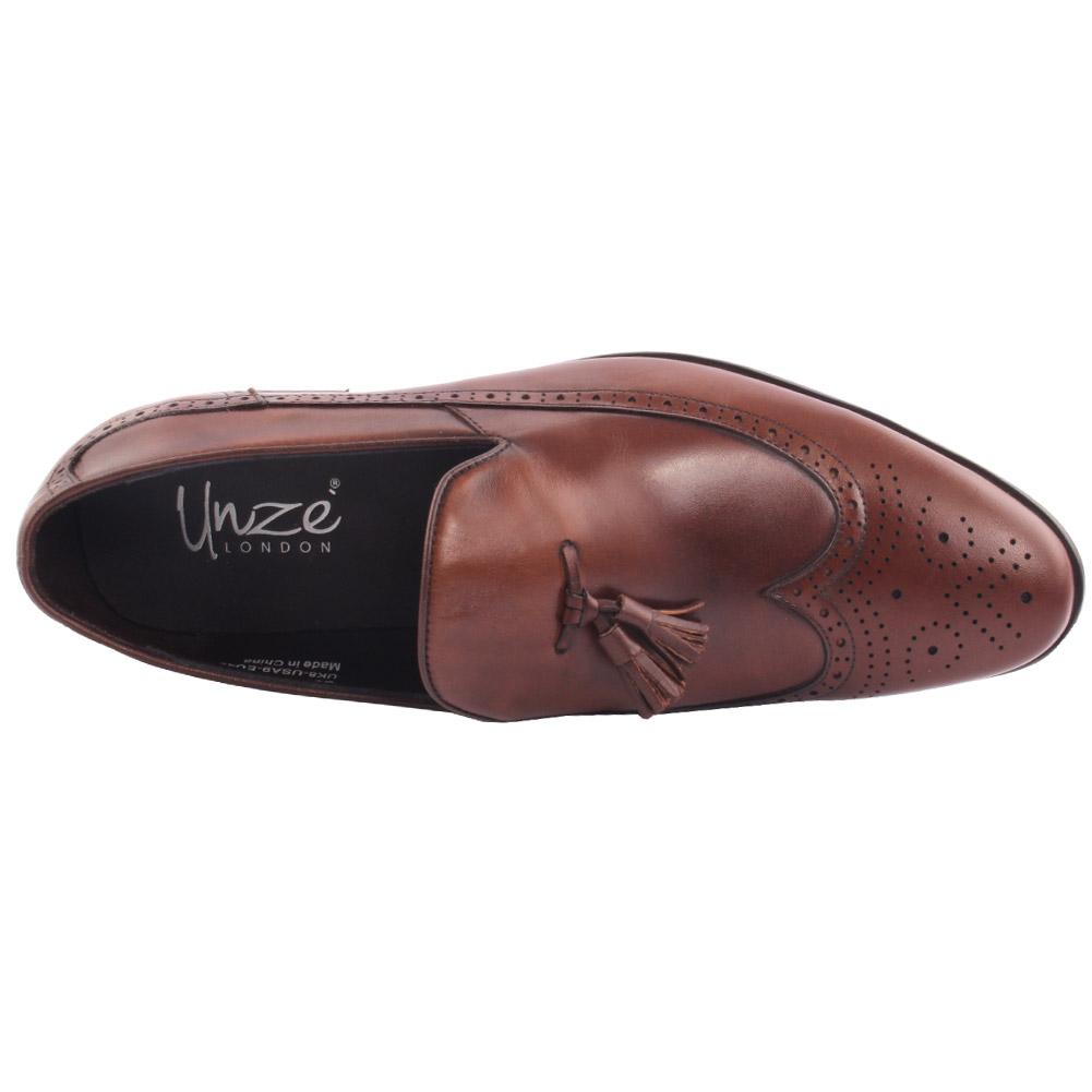 Unze para hombre de cuero medio Borlas detallando Formal Zapatos Uk Size 6-11 Marrón