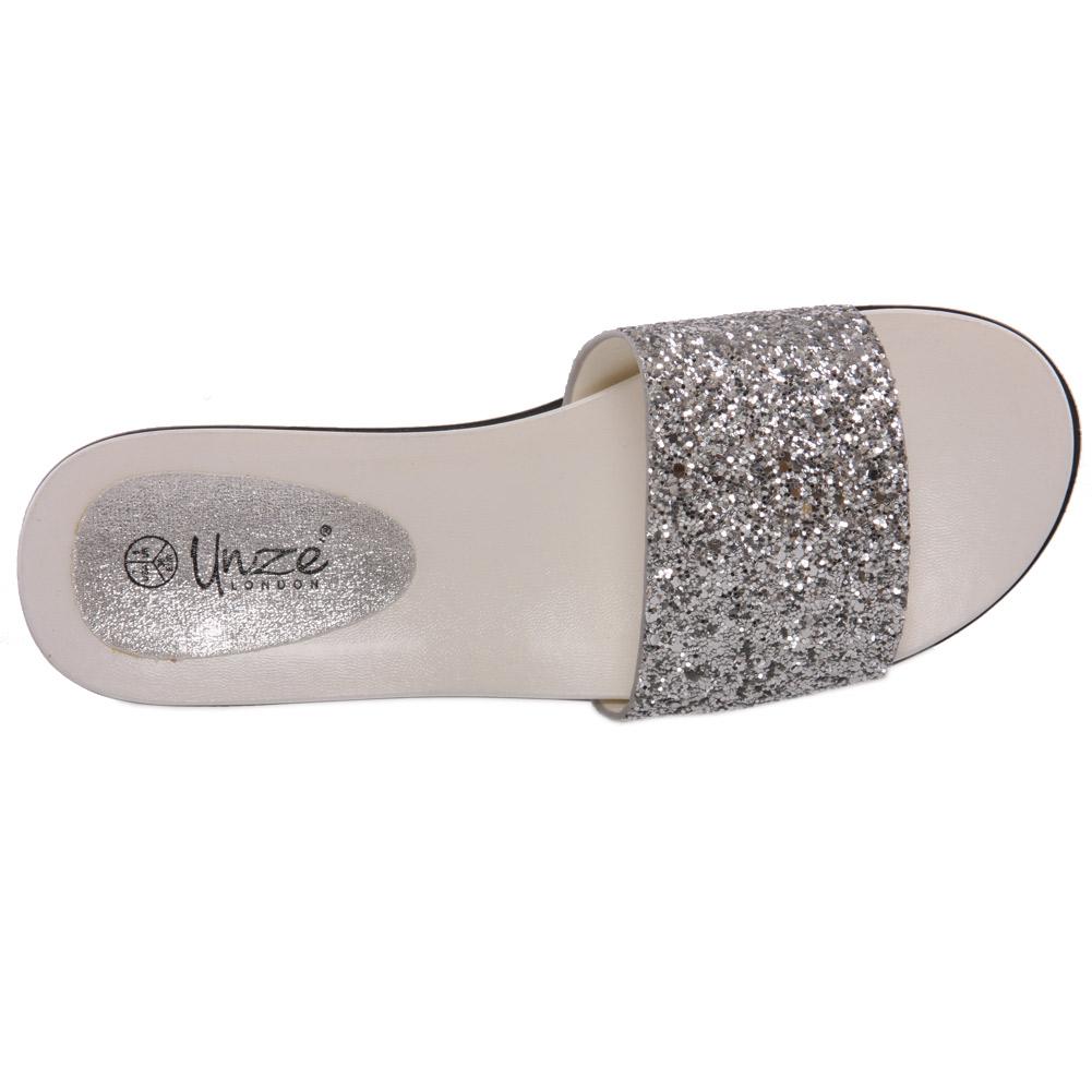 Unze para mujer Debora brillante Cuña Zapatillas tamaño de Reino Unido 3-8 Plata