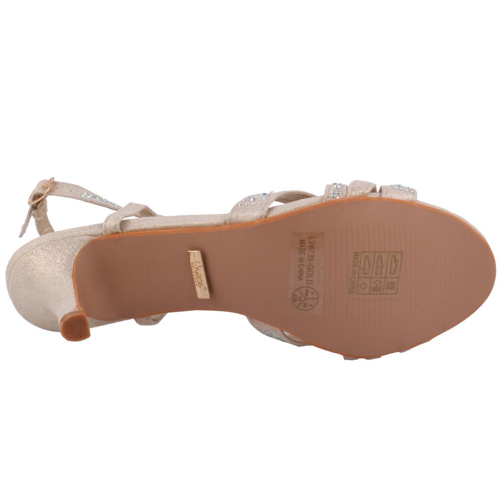 Unze mujeres Chyna adornado noche Stiletto Sandalias UK Size 3-8 oro