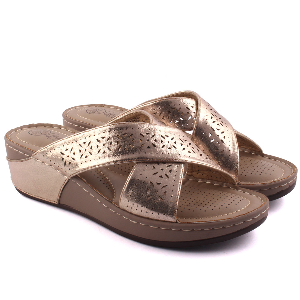Unze para mujer proxip Casual Cómodo Pantuflas Uk Size 3-8 oro