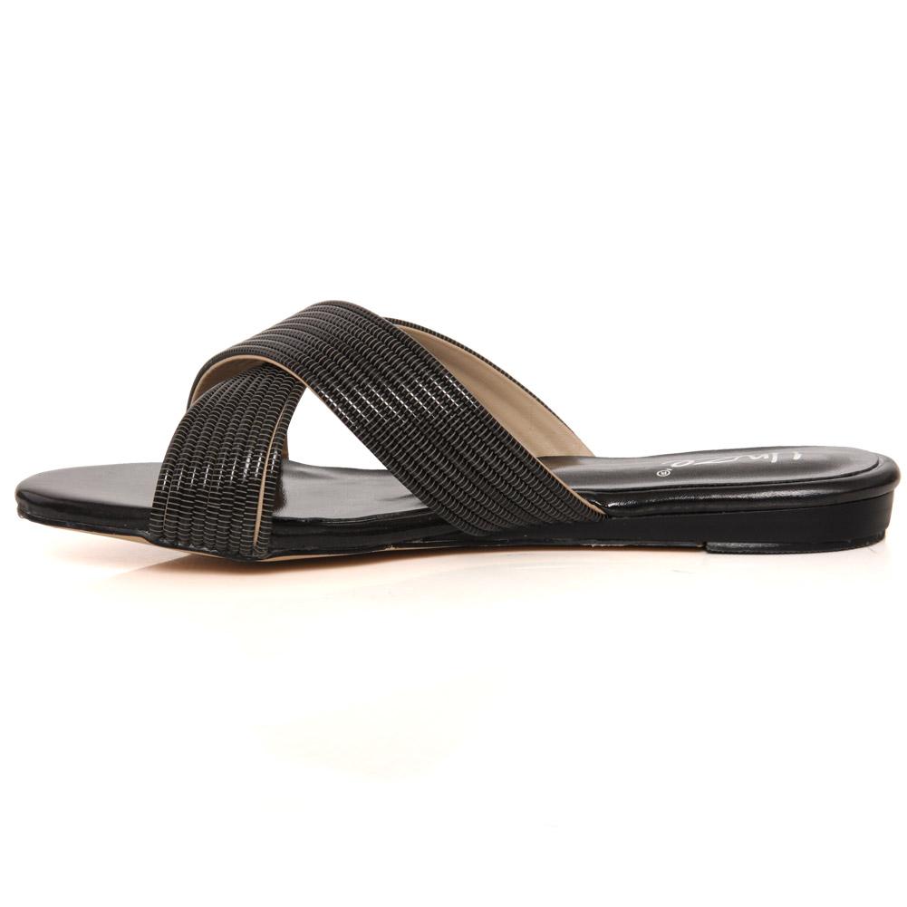 Unze mujeres Marilyn metálico Diapositiva Sandalias planas tamaño de Reino Unido 3-8 Negro