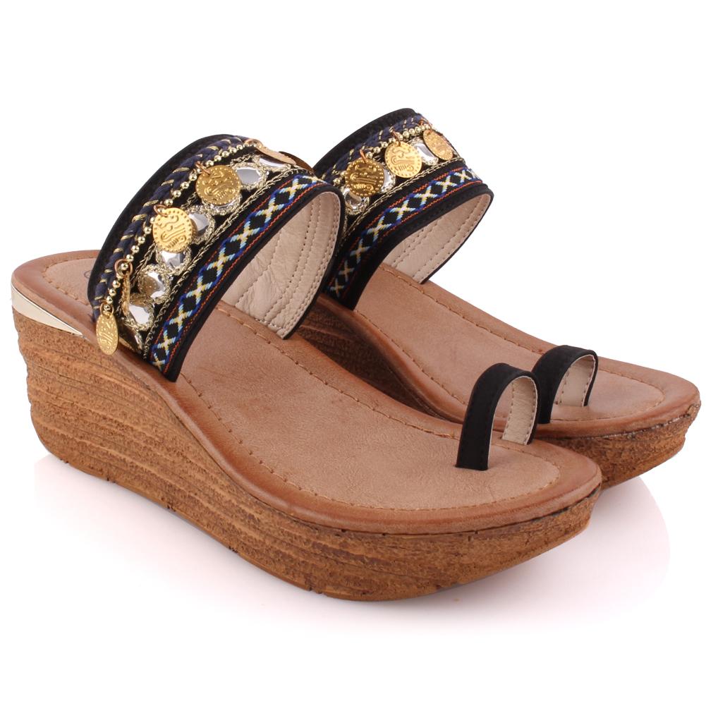 Unze mujeres Sienna bordado Zapatillas de plataforma tamaño de Reino Unido 3-8 Negro